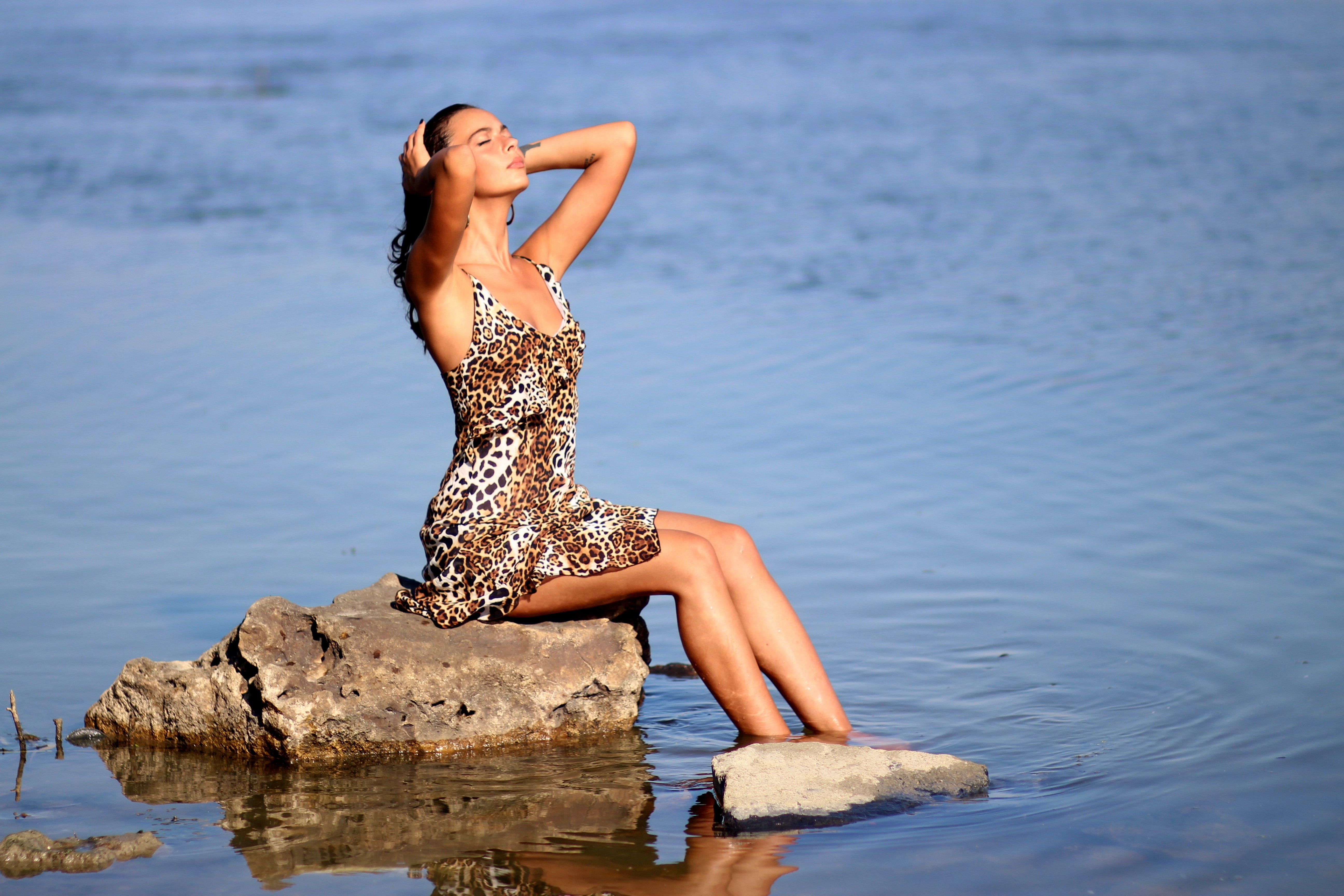Sitting Woman Wearing Leopard Tank Mini Dress on Body of Water, Attractive, Outdoors, Water, Sexy, HQ Photo
