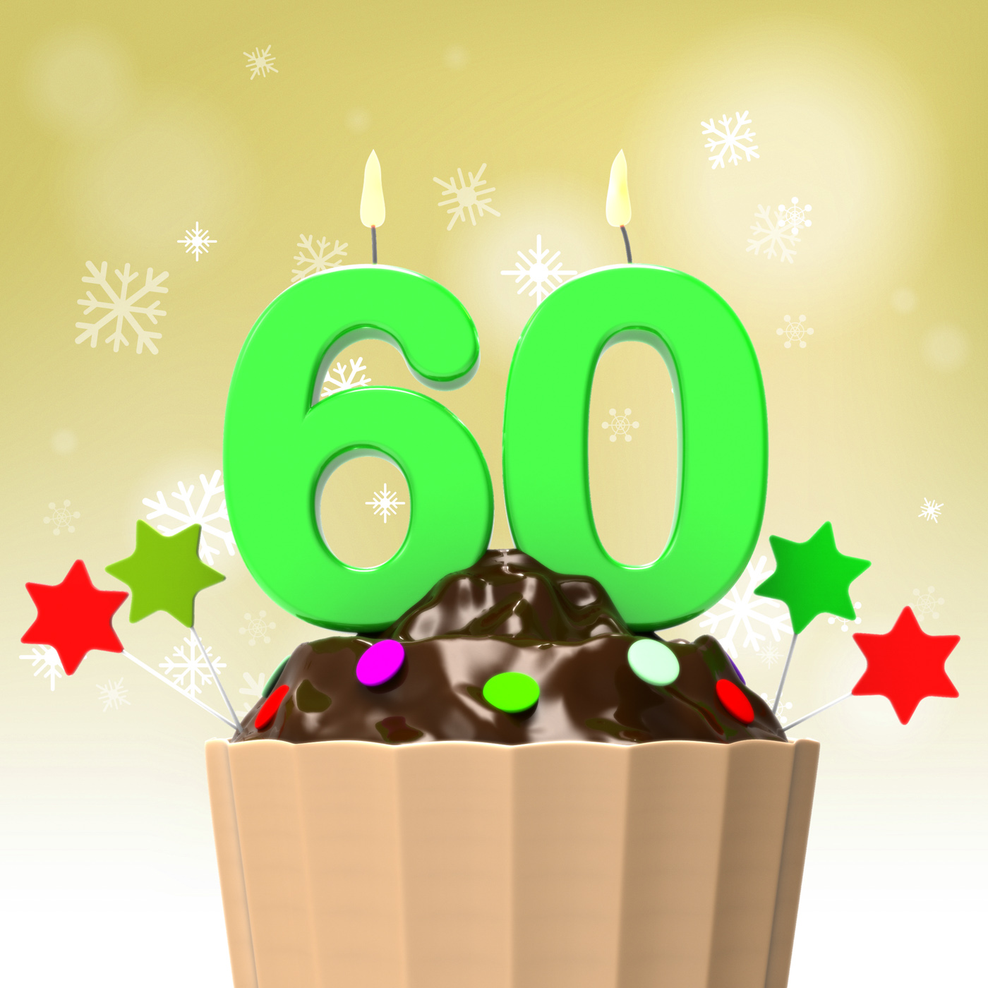 Sixty candle on cupcake shows family reunion or celebration photo
