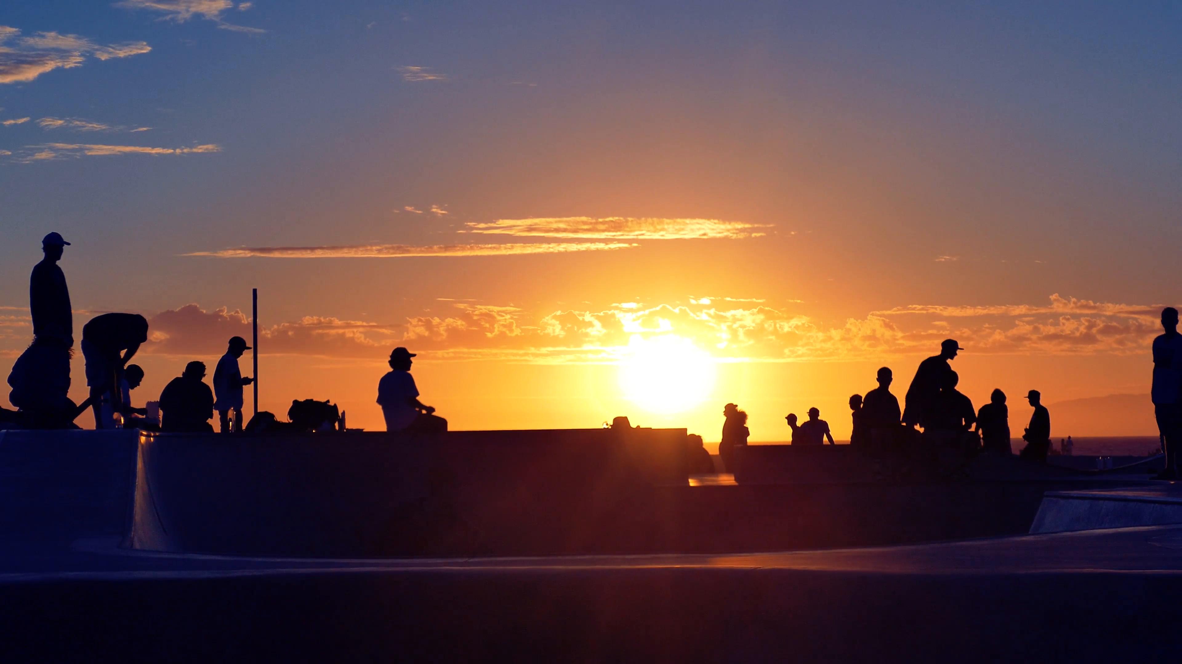Silhouette People Skateboarding Extreme Skatepark Footage Sunset ...