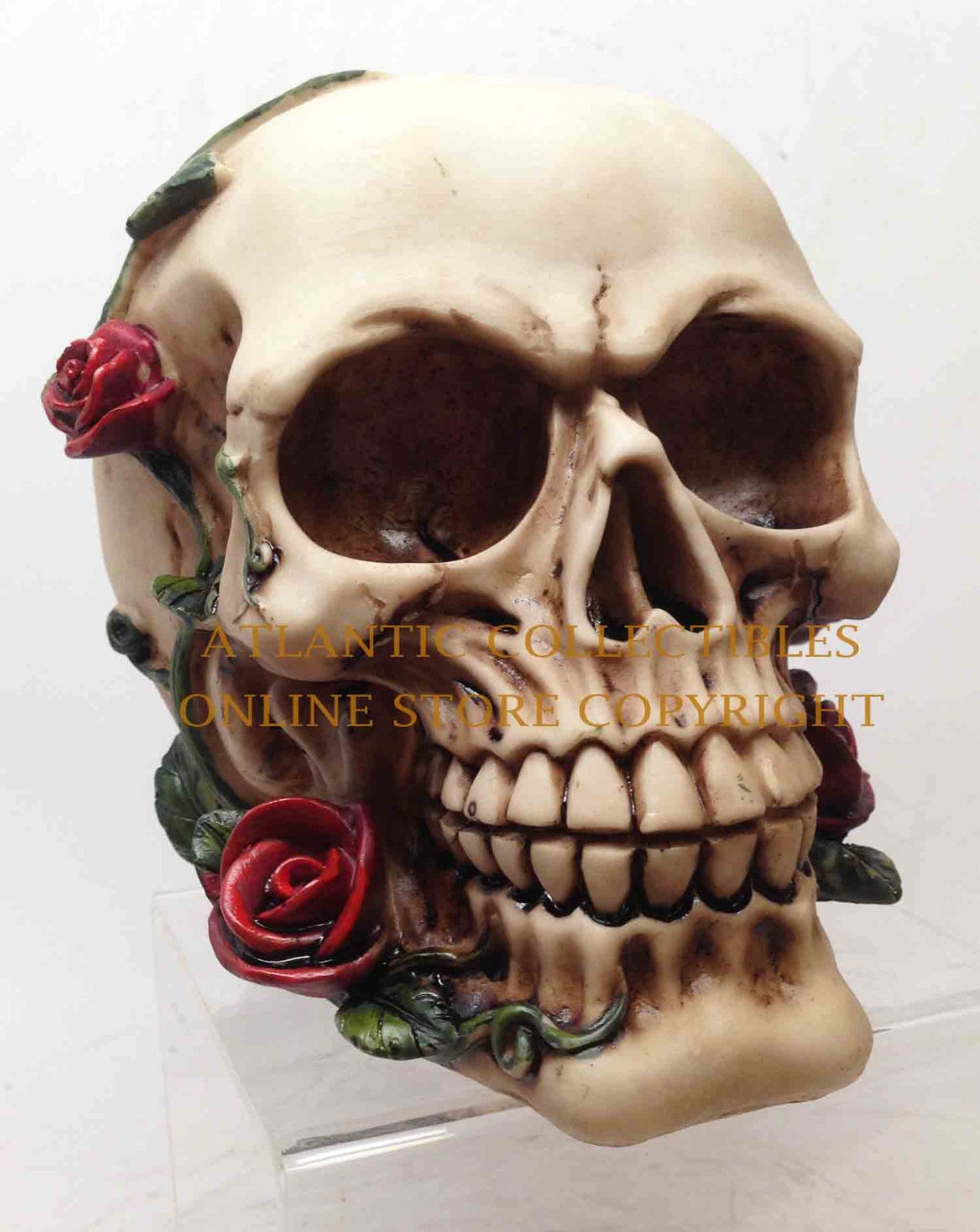 Skeleton Head Human Skull with Red Roses Figurine Collection Statue ...