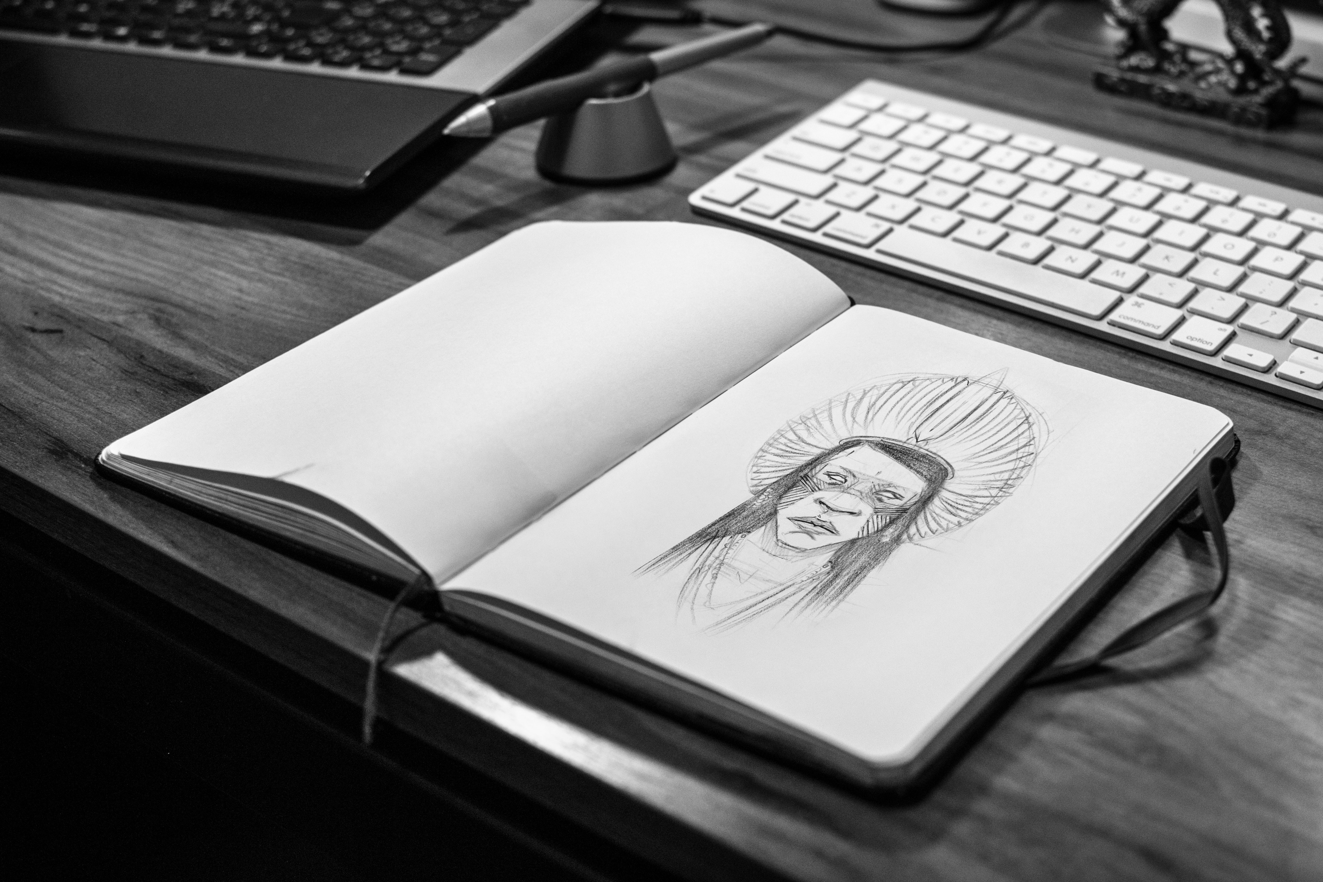 Sketch Book on Gray Wooden Surface, Paper, Native, Laptop, Keyboard, HQ Photo
