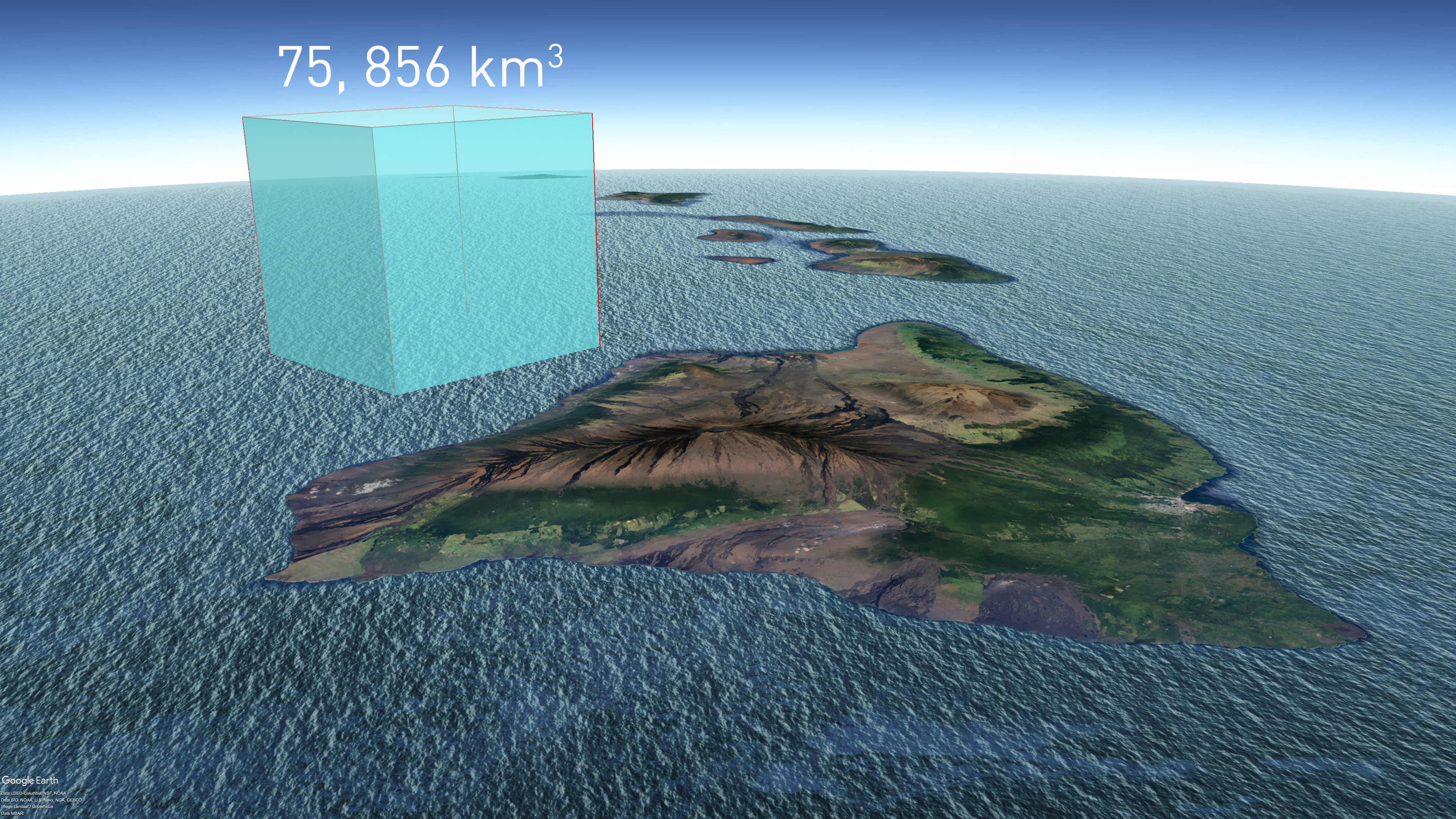Sketch showing the total volume of sea level rise 1880-2009 compared to the volume of Hawaii, Ocean, Sea, Sky, Water, HQ Photo