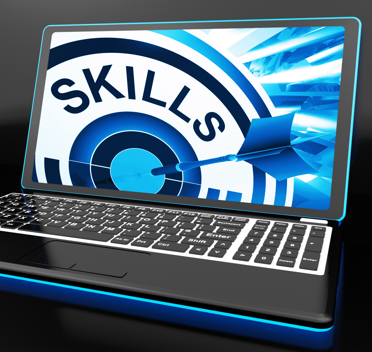Skills on laptop shows great abilities photo