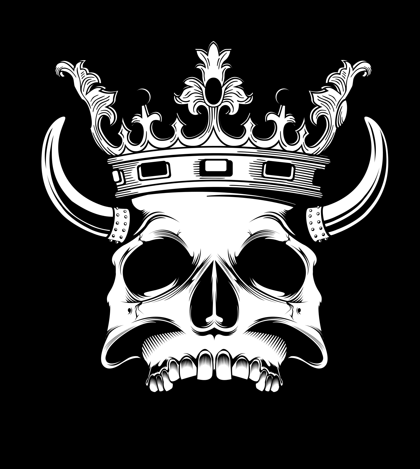 Skull with Horns and Crown, Printing, Shirt, Skull, Print, HQ Photo