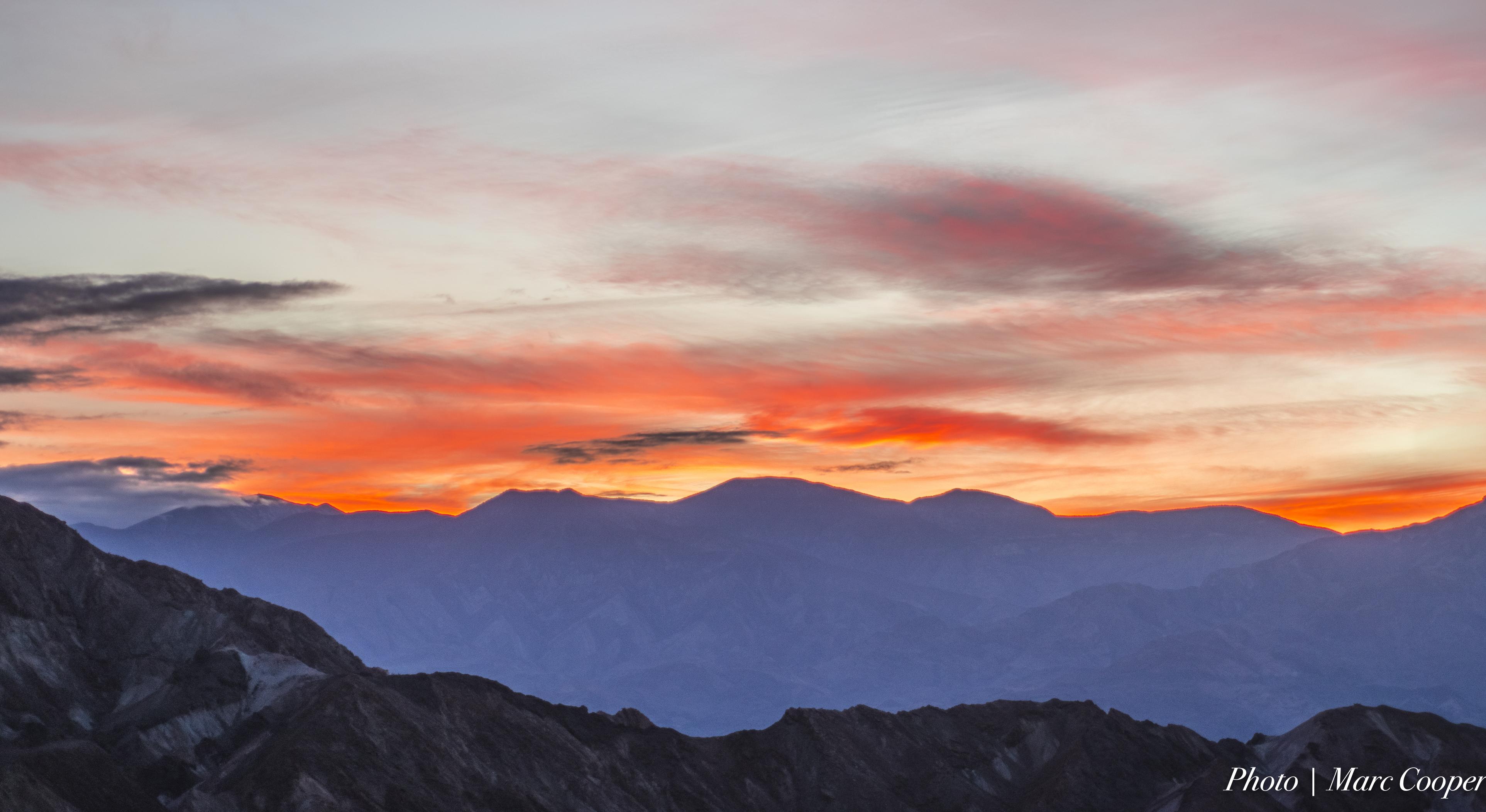 Sky on Fire, Blue, Mountains, Sunset, Sky, HQ Photo