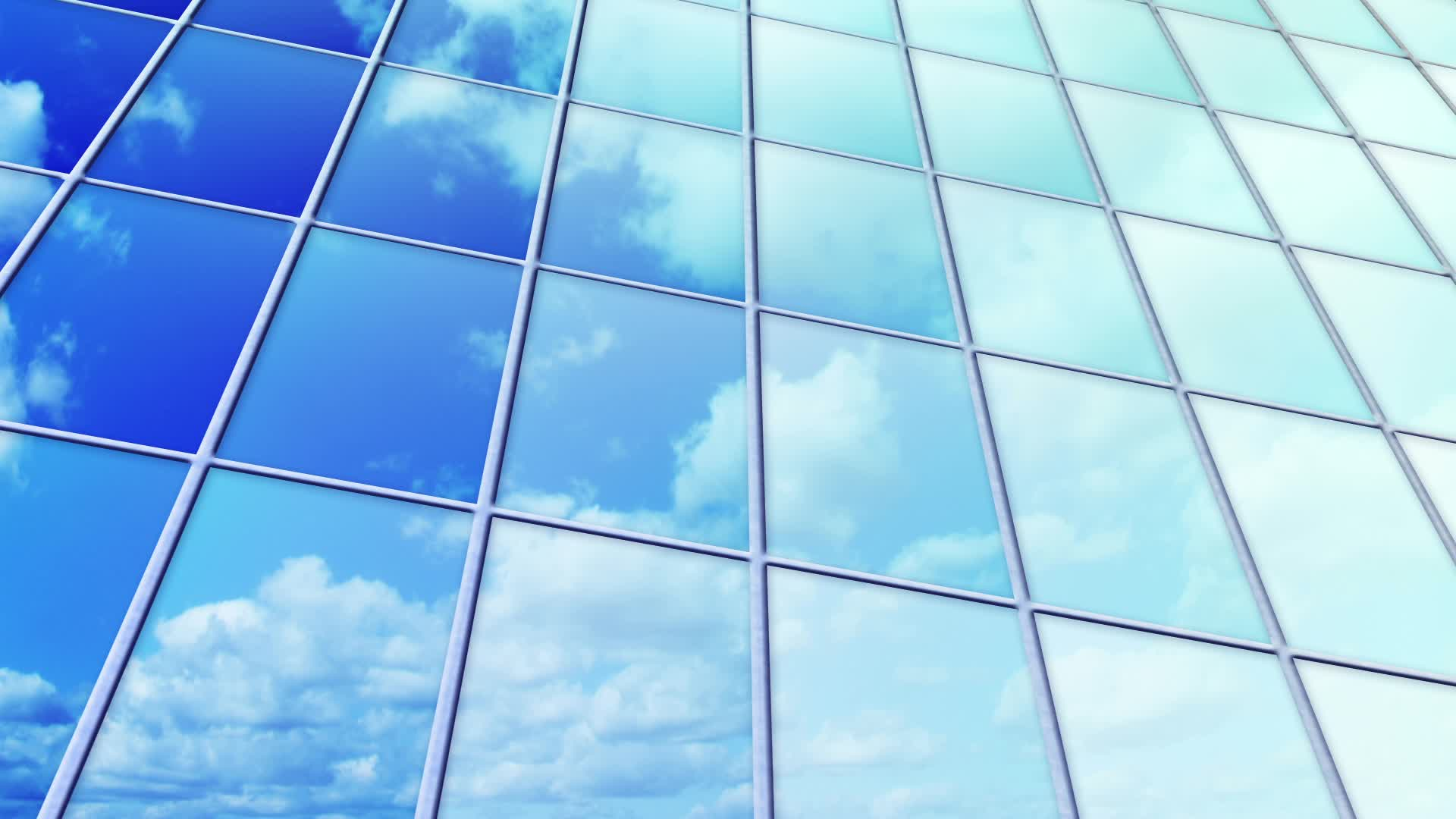Clouds reflected in windows of skyscraper loop ~ Hi Res #11878301