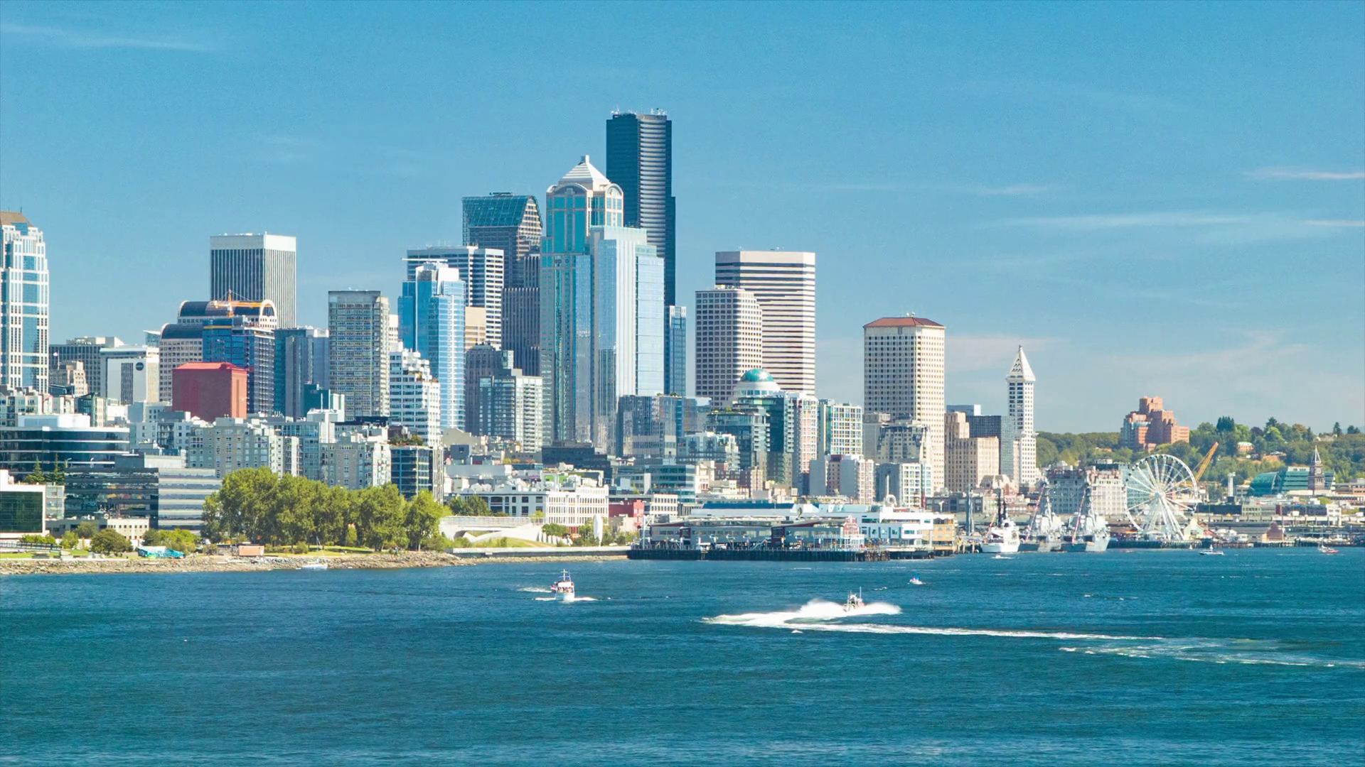 Seattle Washington Downtown City Skyline on a Sunny Day with Water ...