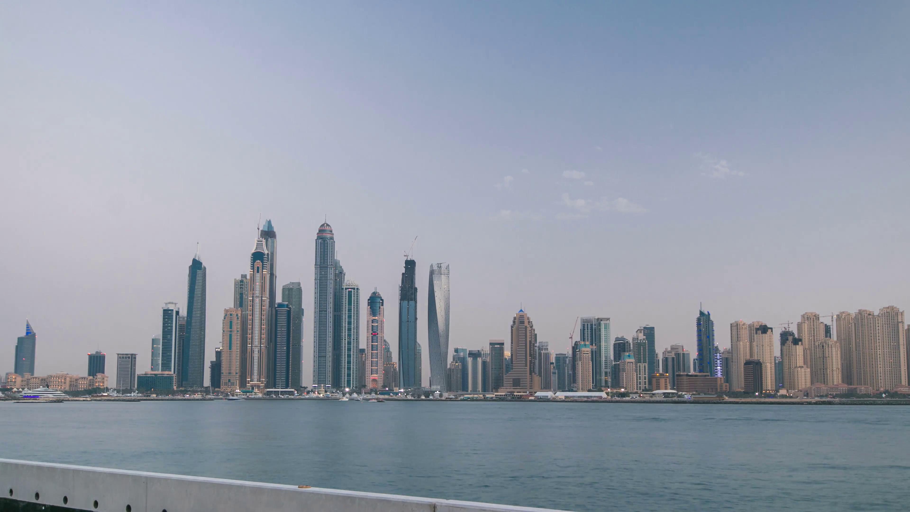 Dubai Marina skyline with JBR day to night transition timelapse as ...