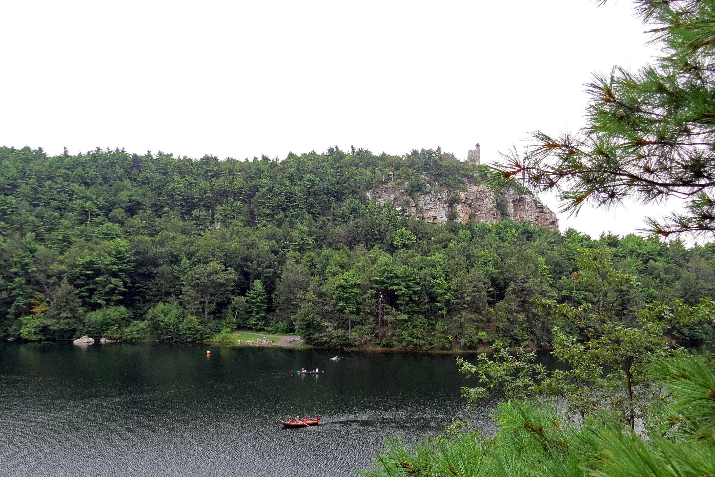 Skytop tower and mohonk lake photo