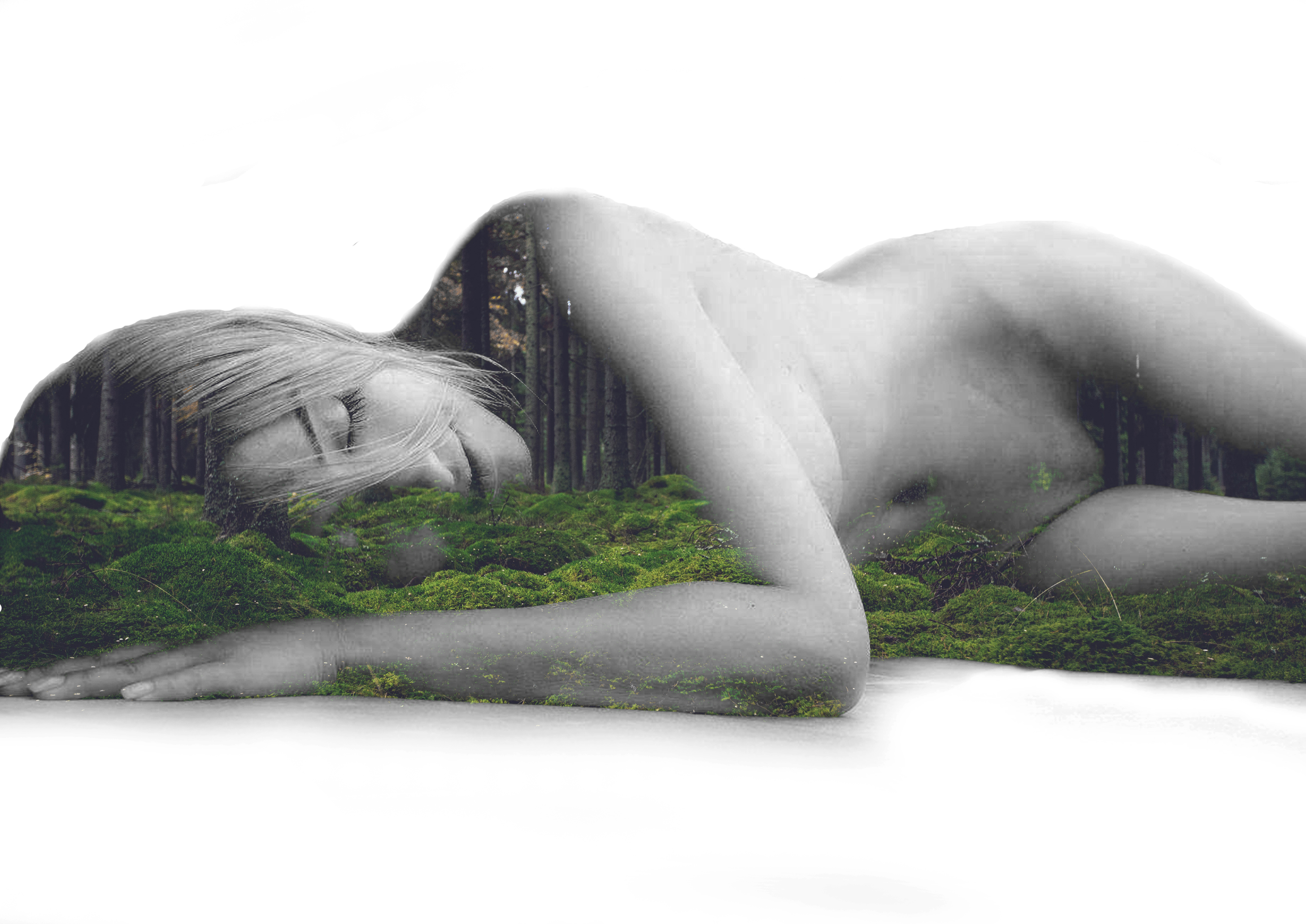 Sleeping beauty - a naked princess of the woods photo