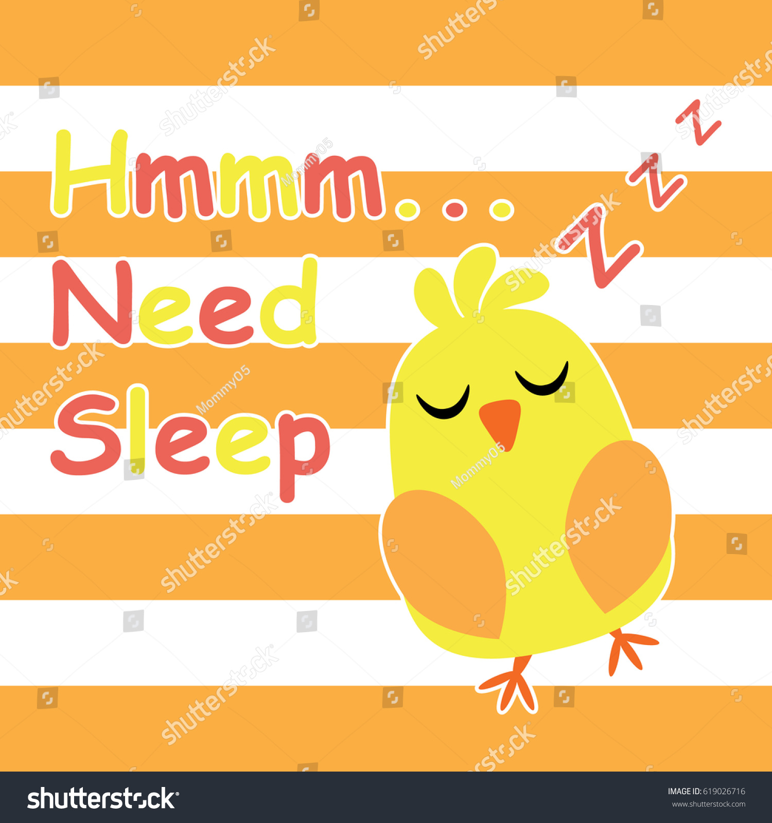Cute Chick Sleeping Cartoon Children Postcard Stock Vector HD ...
