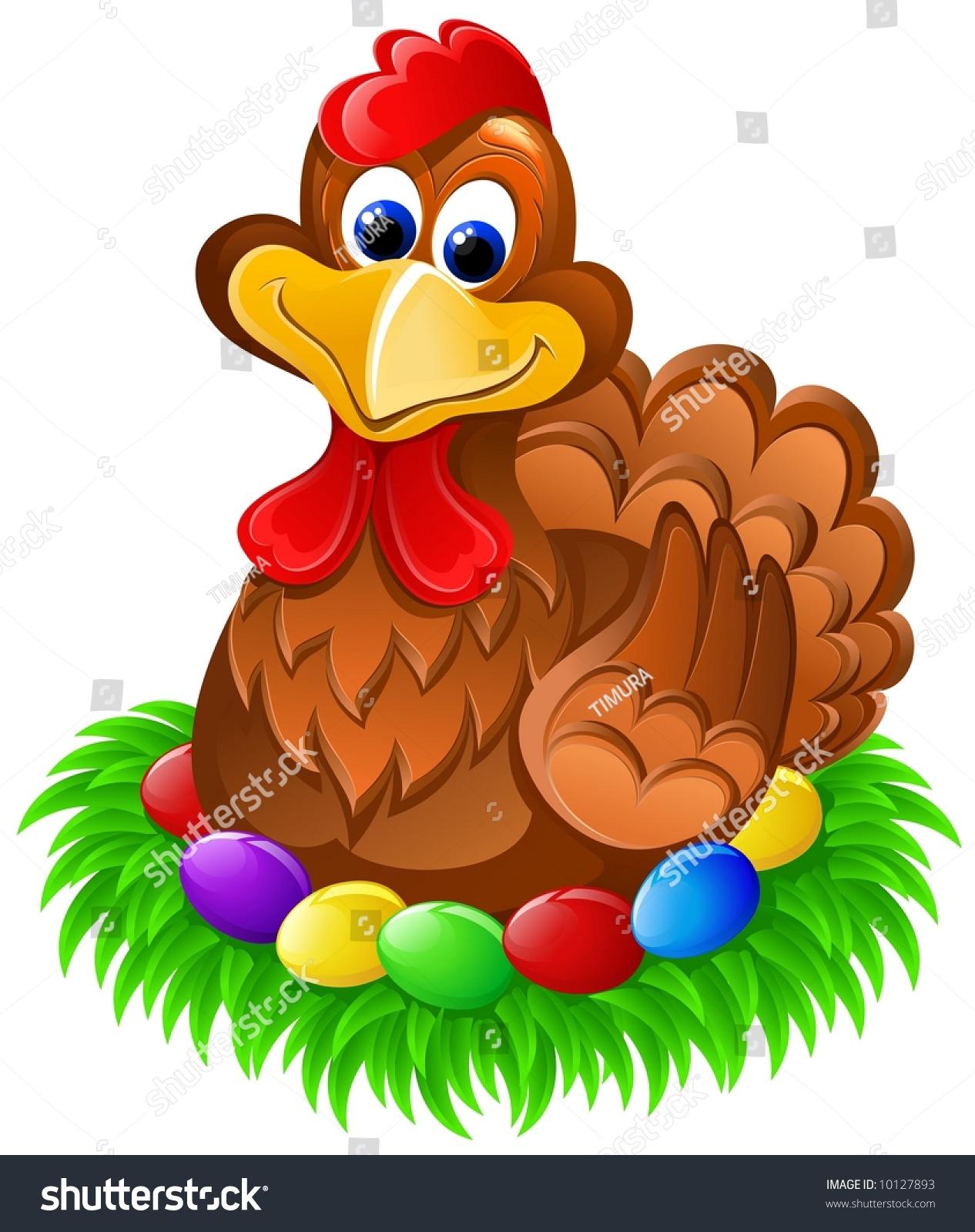 Easter Chicken On Eggs Stock Illustration 10127893 - Shutterstock