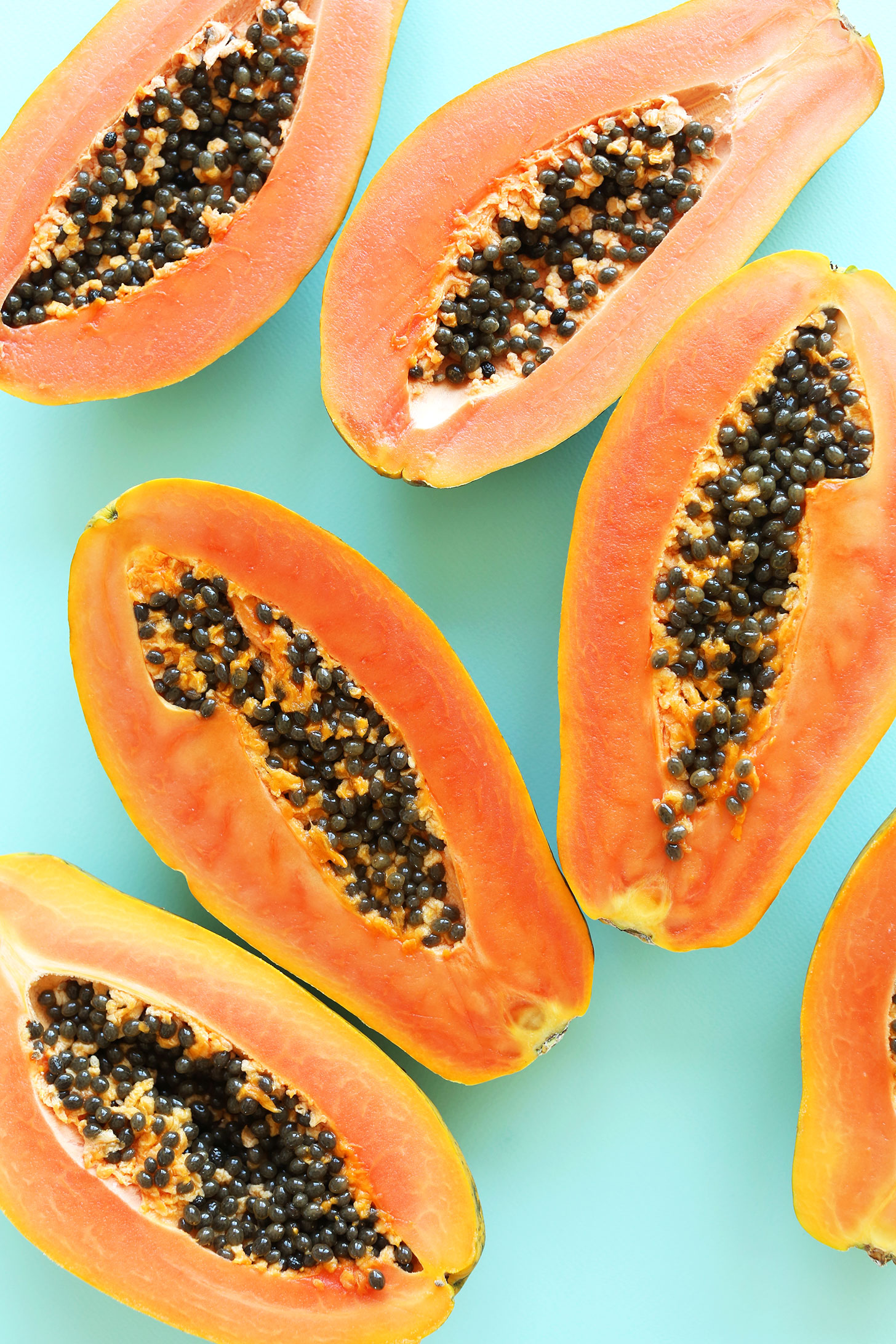 Sliced papaya fruit photo