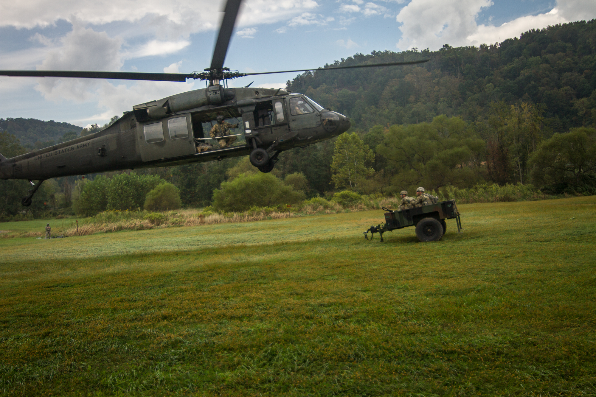 Sling Load, Air, Black, Hawk, Helicopter, HQ Photo