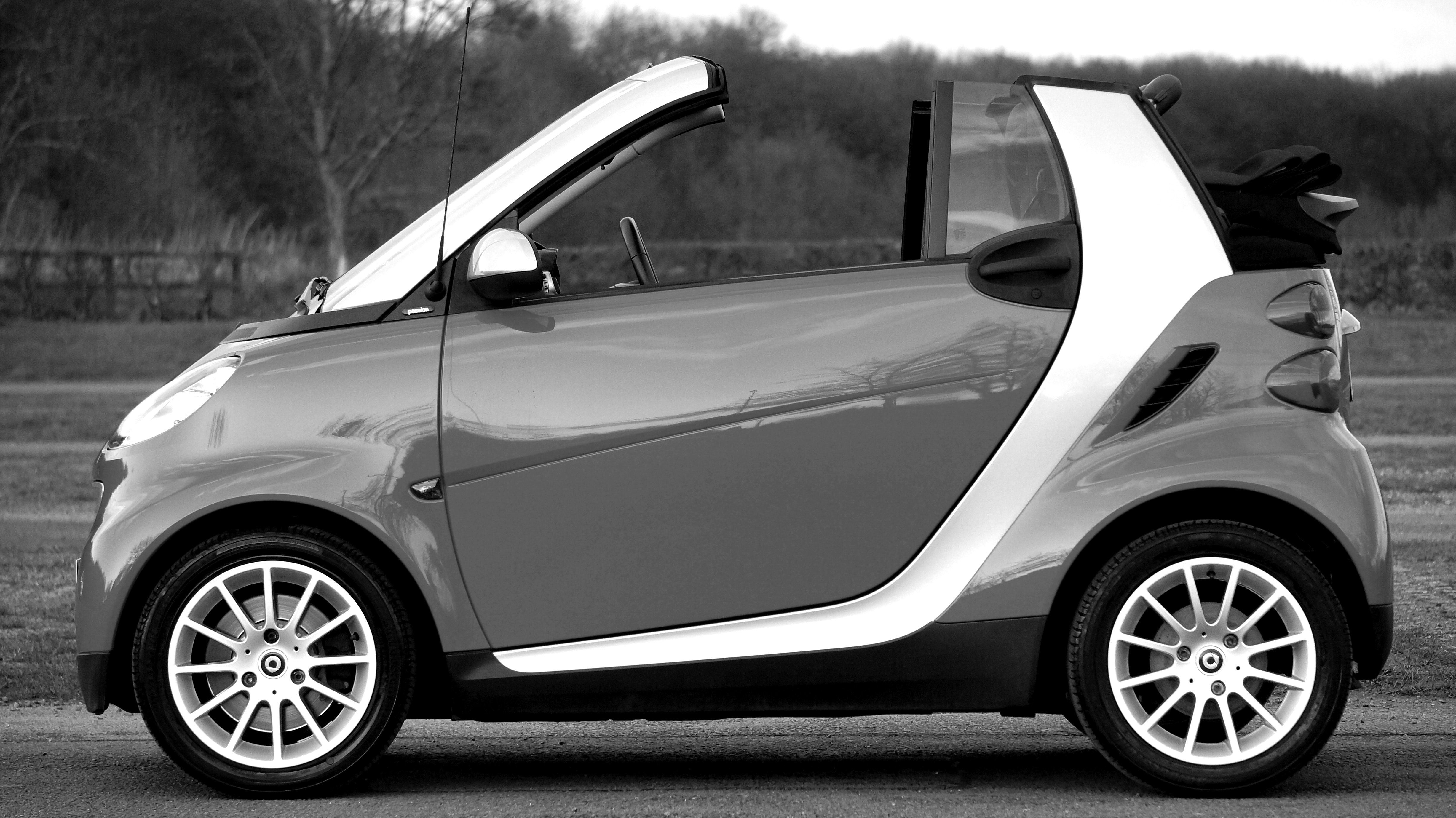 Smart Fortwo on Park, Auto, Reflection, Vehicle, Transportation system, HQ Photo