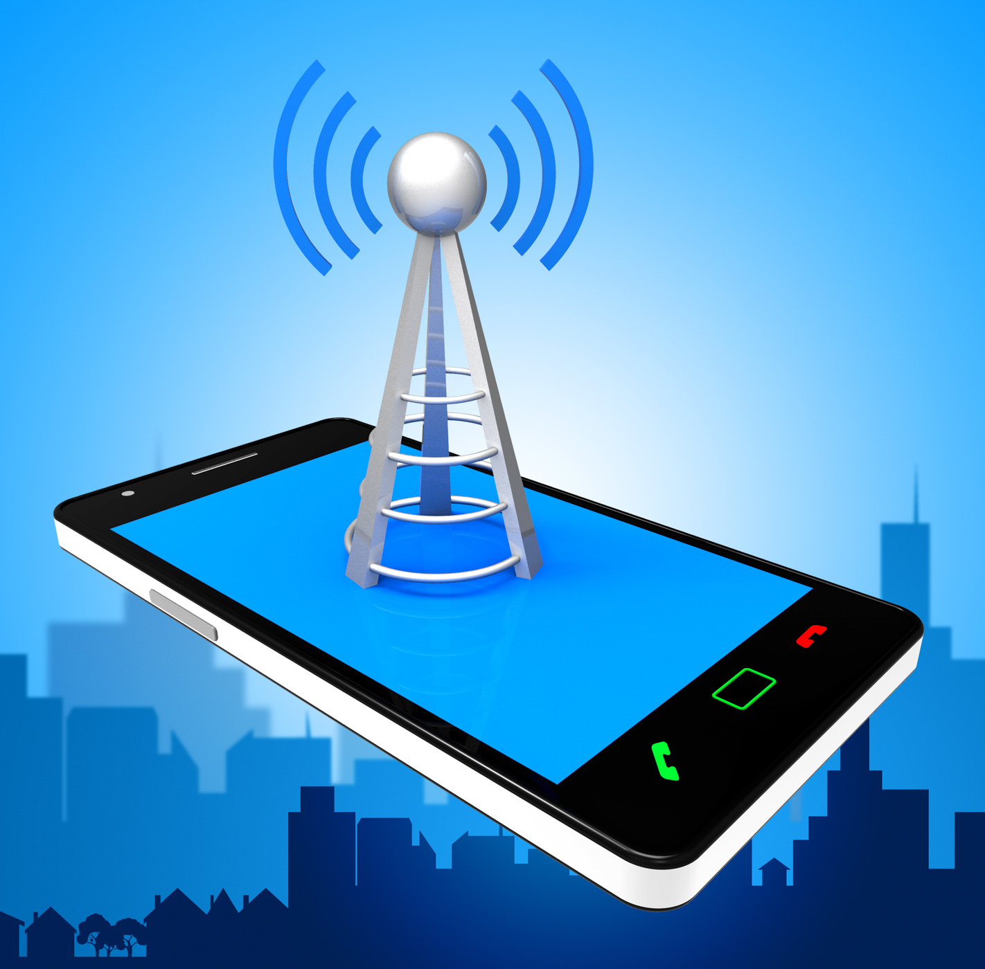 Smartphone wifi indicates world wide web and antenna photo