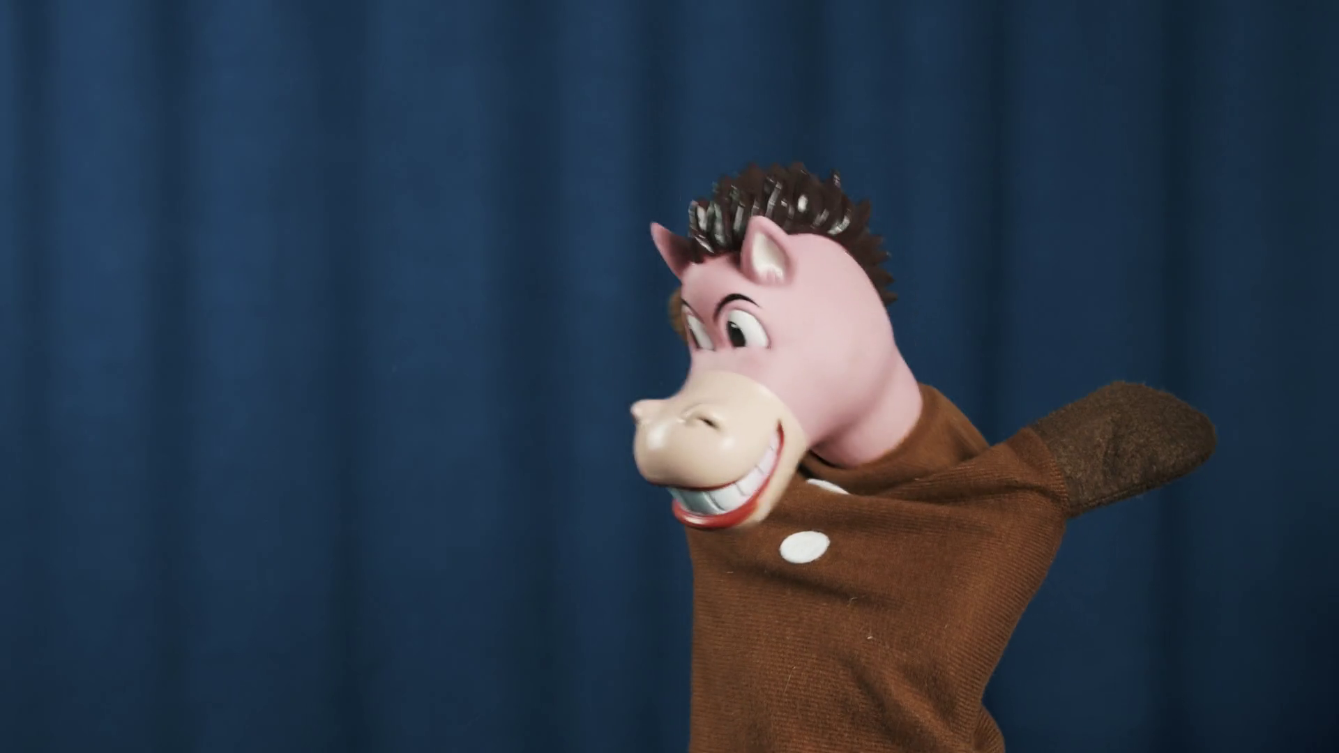 Smiling horse hand puppet toy shaking an spinning head on scene with ...