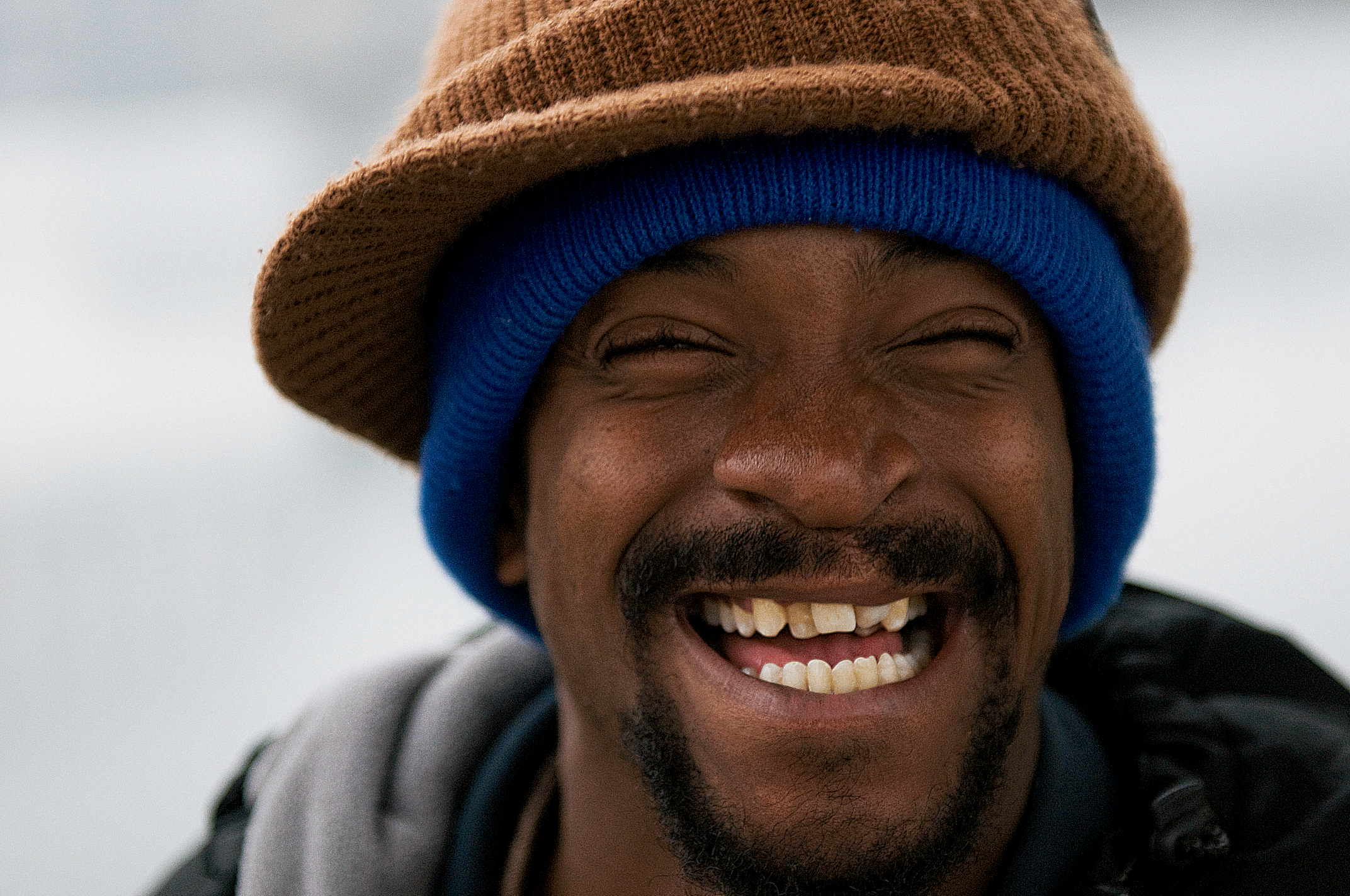 Smiling homeless photo