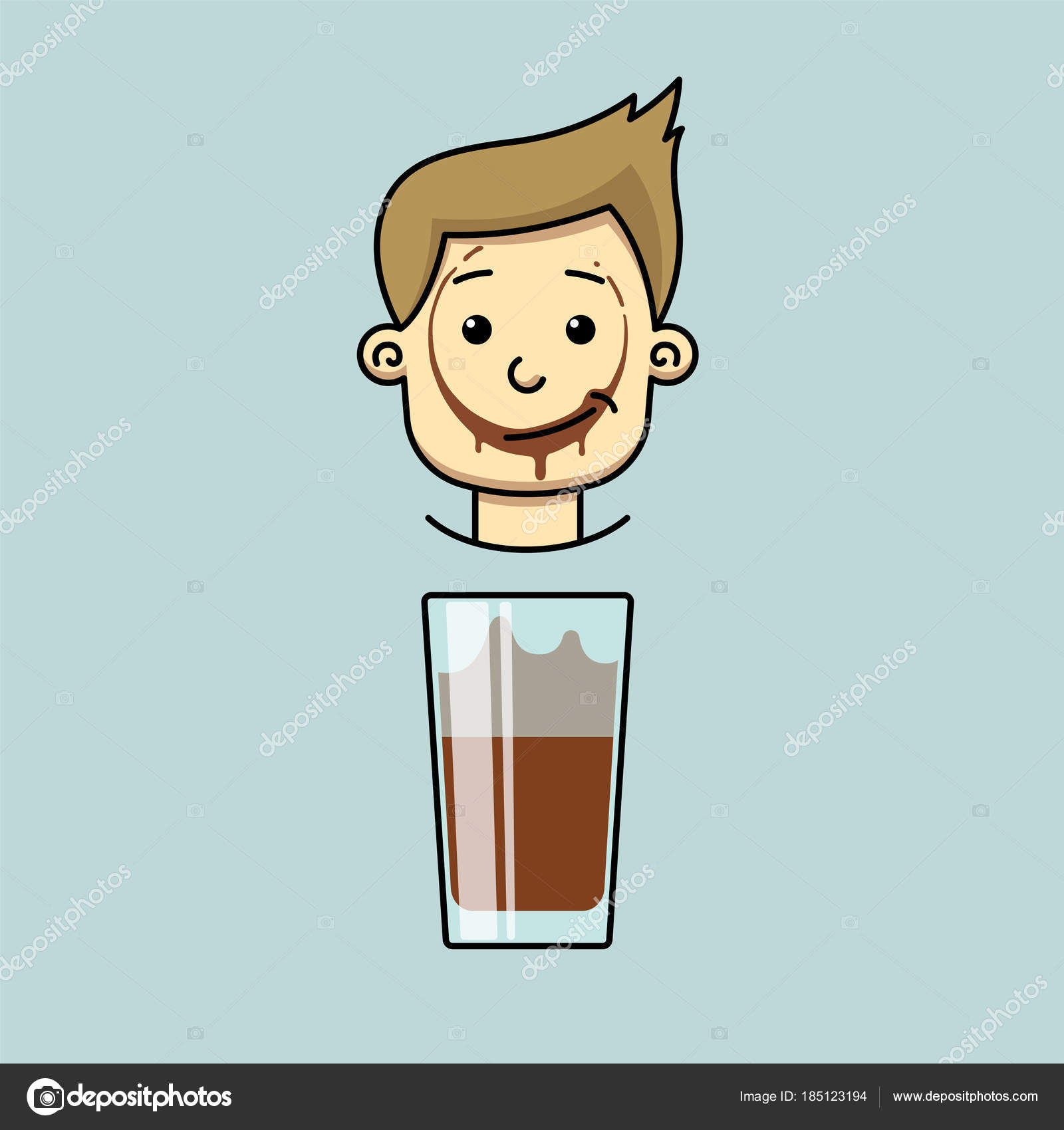 smiling boy with trace of cocoa on his lips — Stock Vector ...
