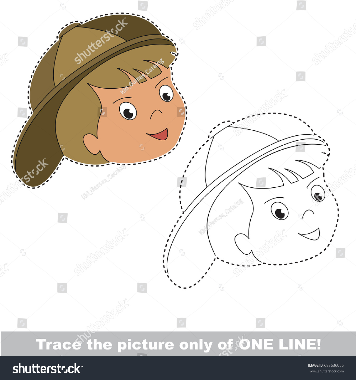 Boy Face Funny Be Traced Only Stock Vector 683636056 - Shutterstock