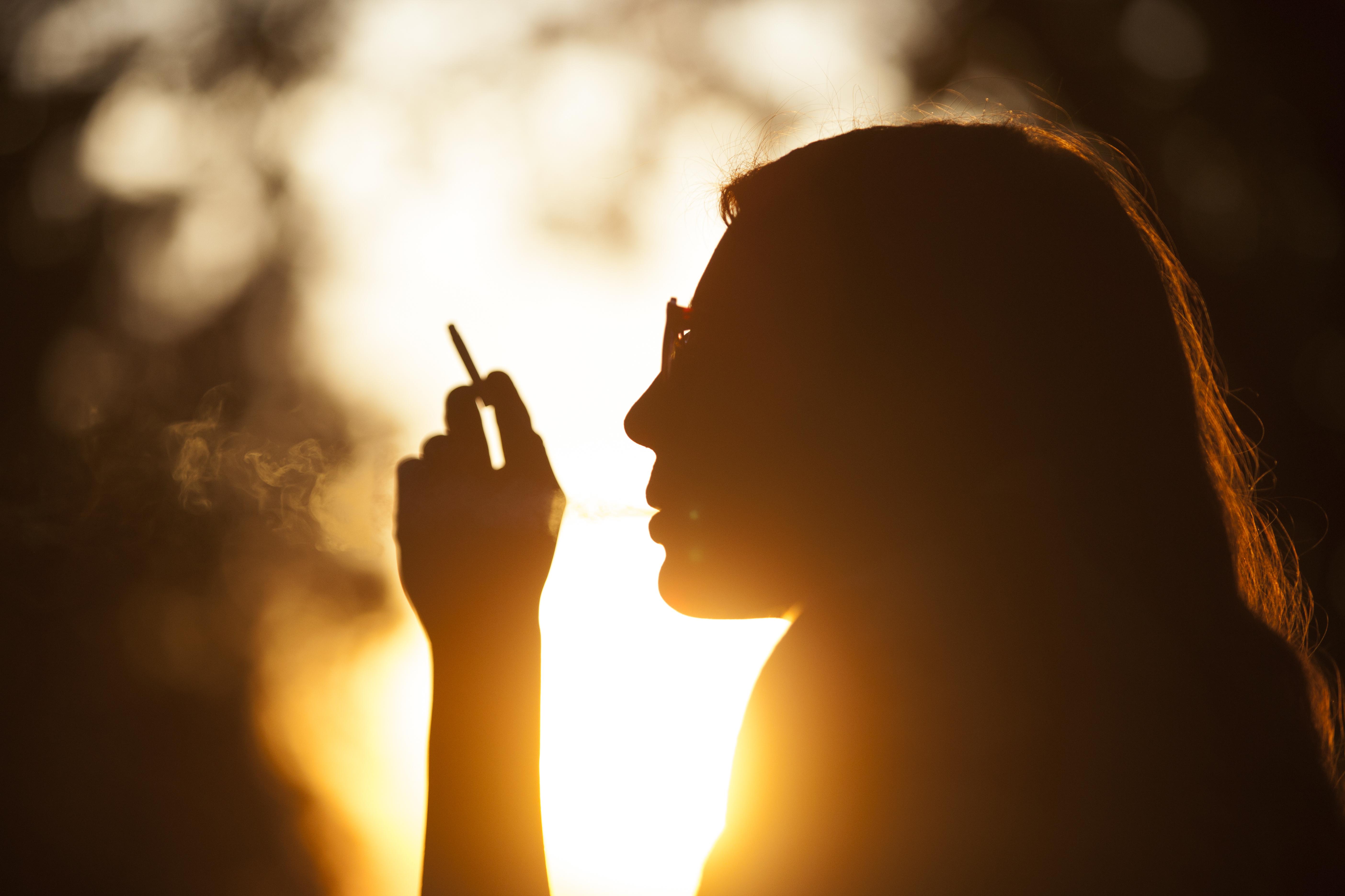 Smoke and sunset photo