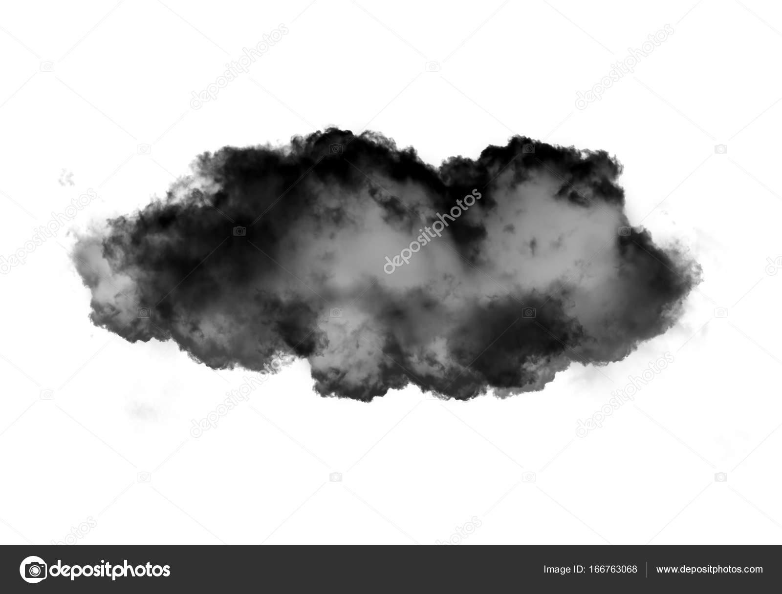 Single black cloud of smoke over white background — Stock Photo ...