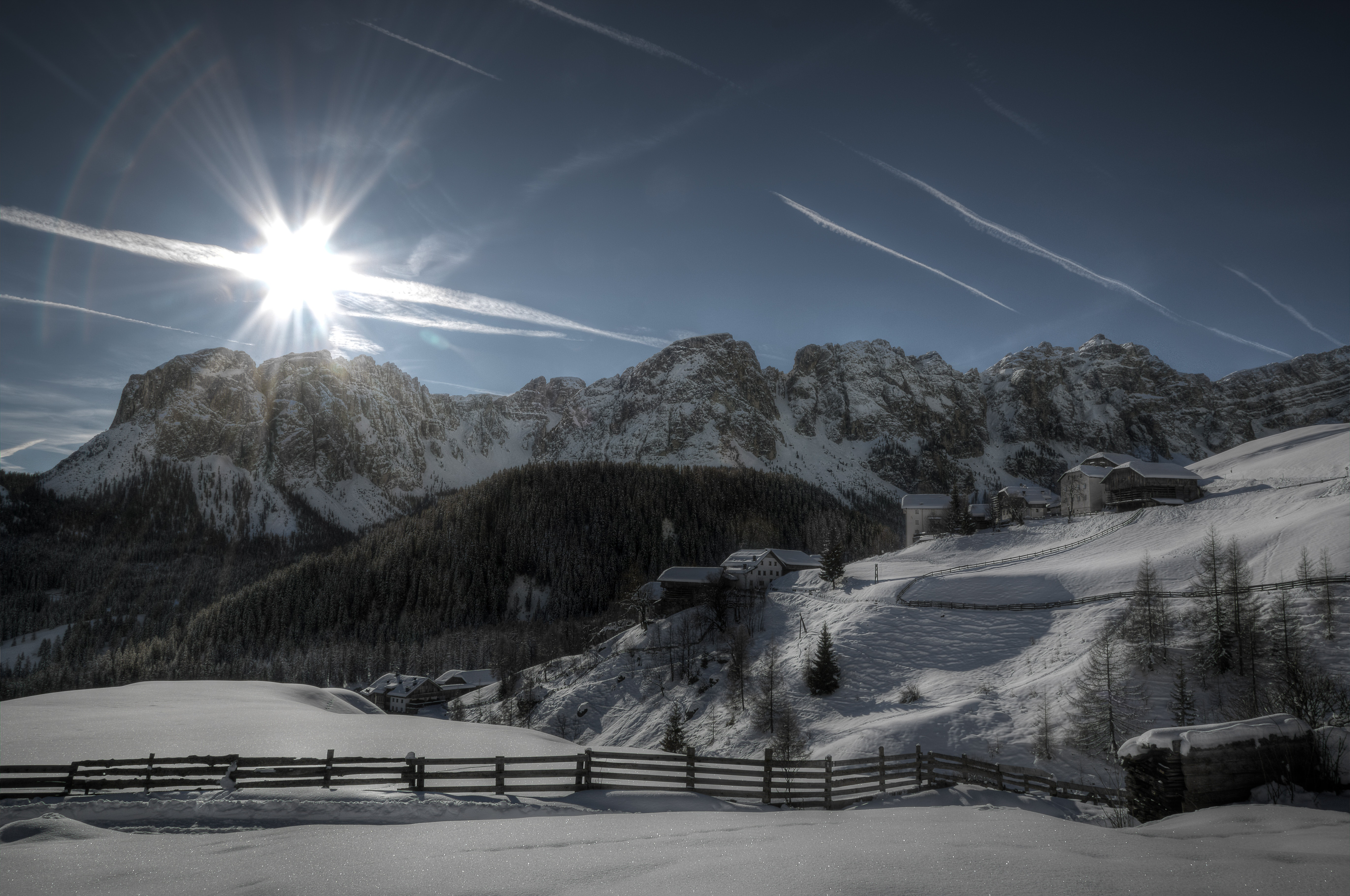 Snow Covered Mountain Illustration, Clouds, Outdoors, Winter, Trees, HQ Photo