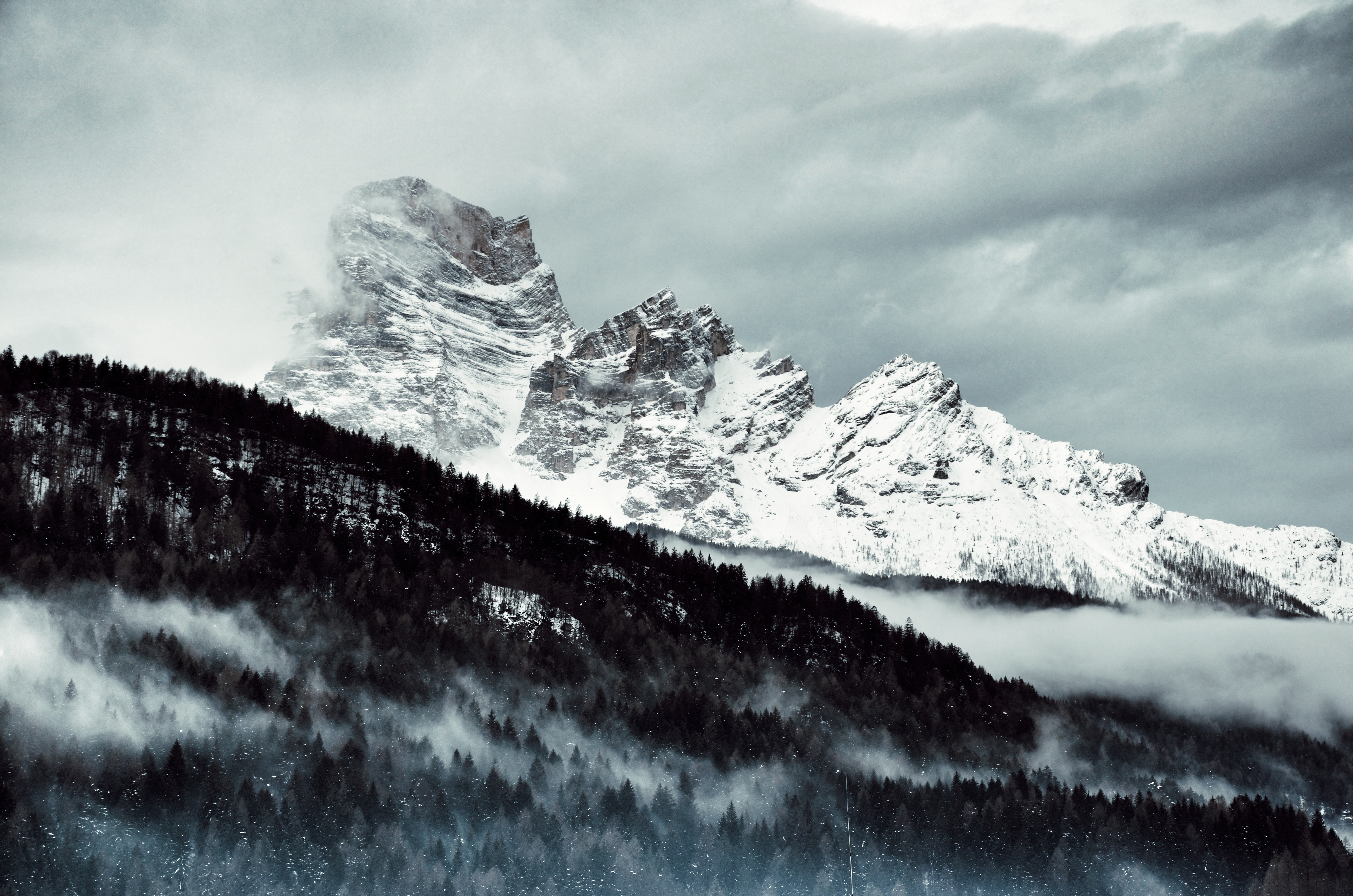 Snow Covered Mountain Under Cloudy Sky, Altitude, Nature, Winter, Wide angle photography, HQ Photo