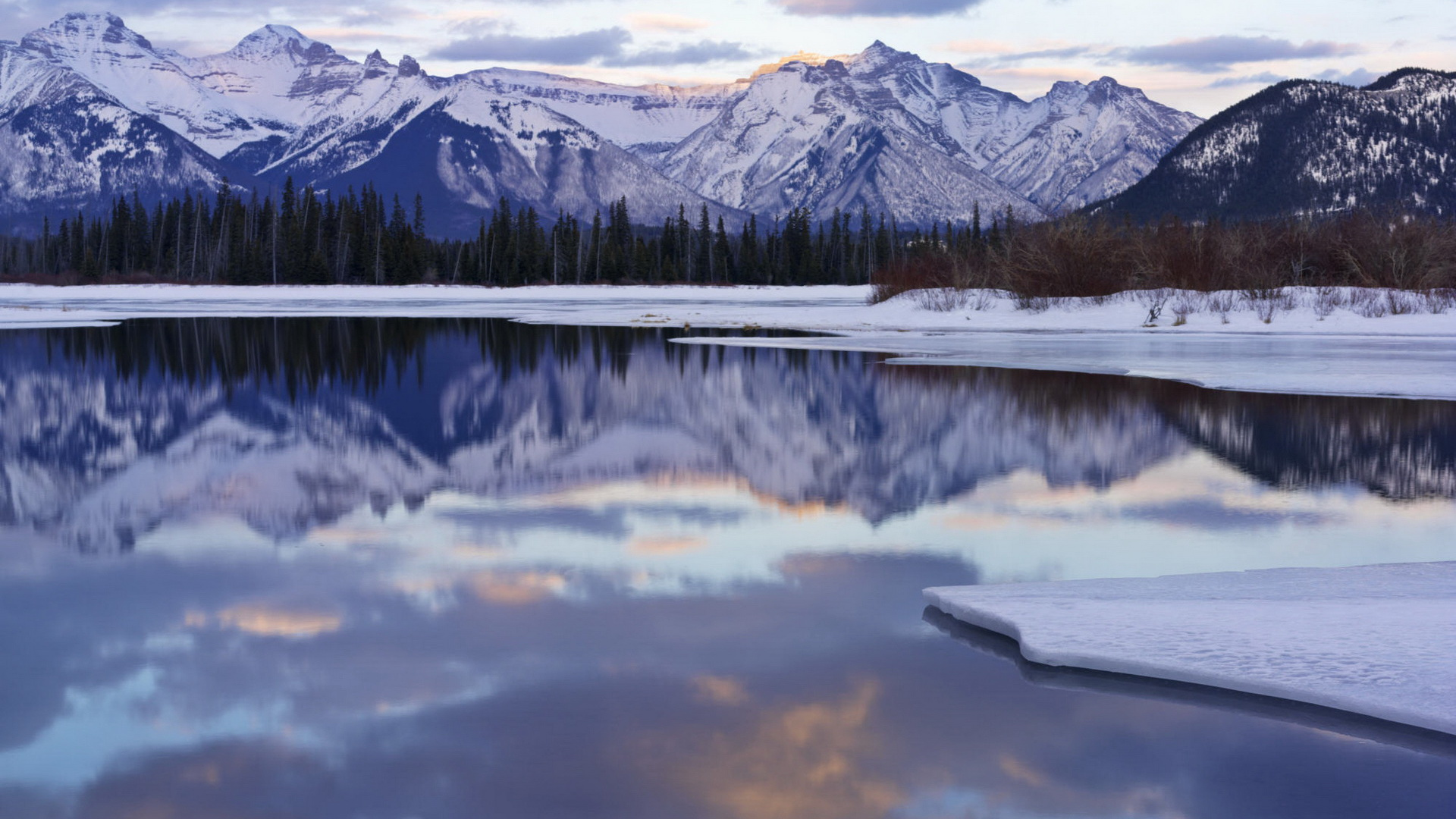 Snow Covered Mountain Reflections - Wallpaper #3256