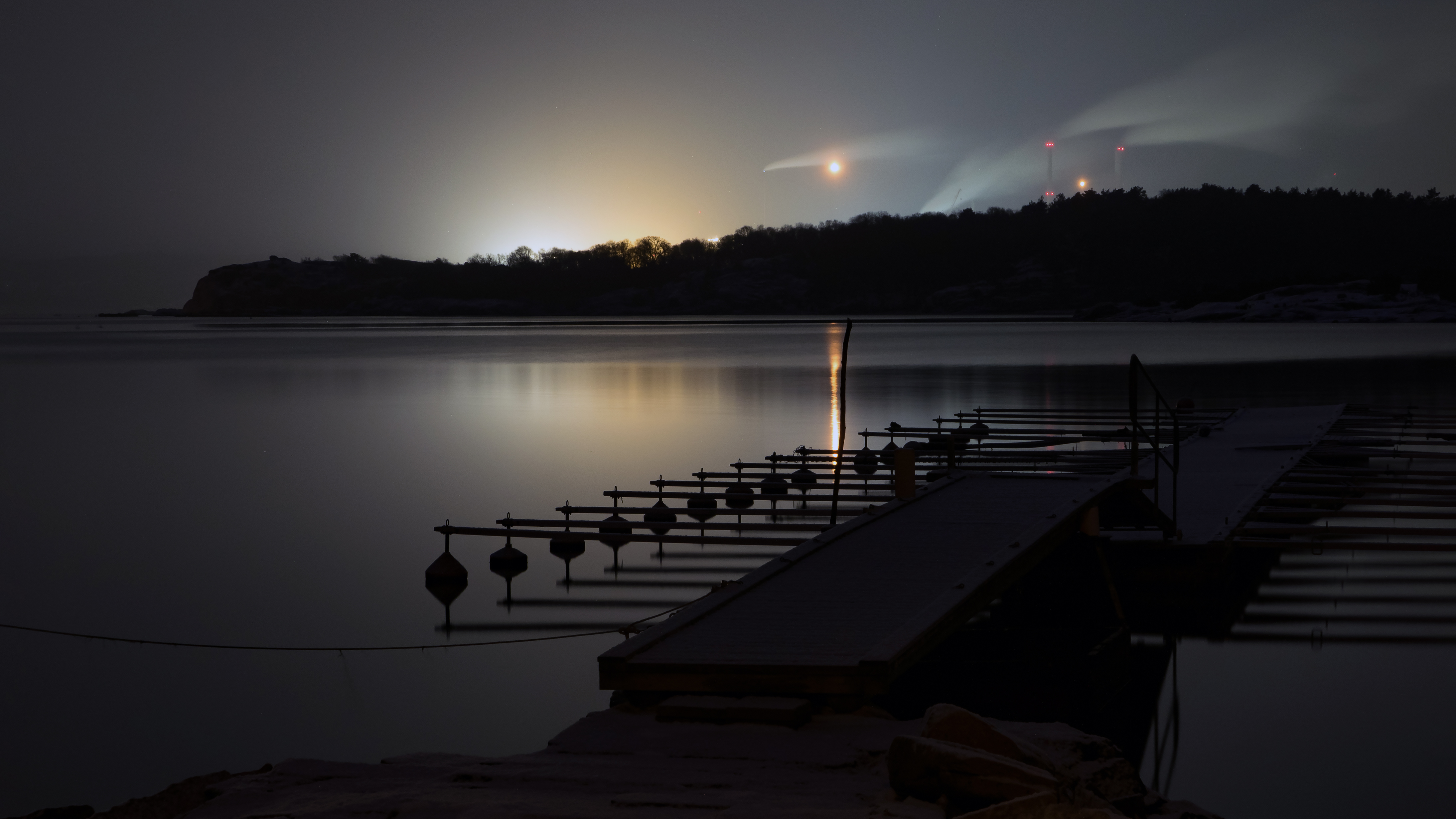 Snowfall at night over Brofjorden and Preemraff oil refinery 2, Boat, Brofjorden, Dock_fingers, Flames, HQ Photo