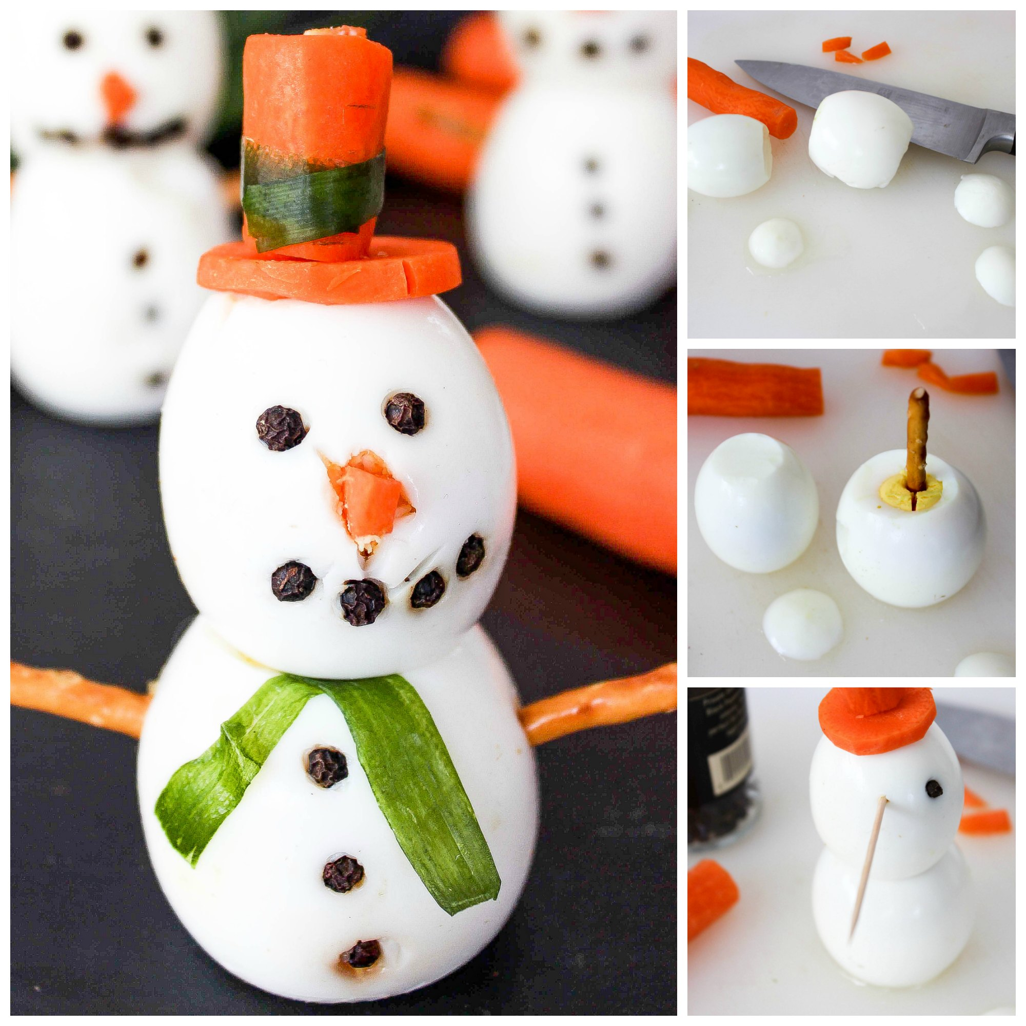 Snowman Hard Boiled Eggs - Baking Beauty