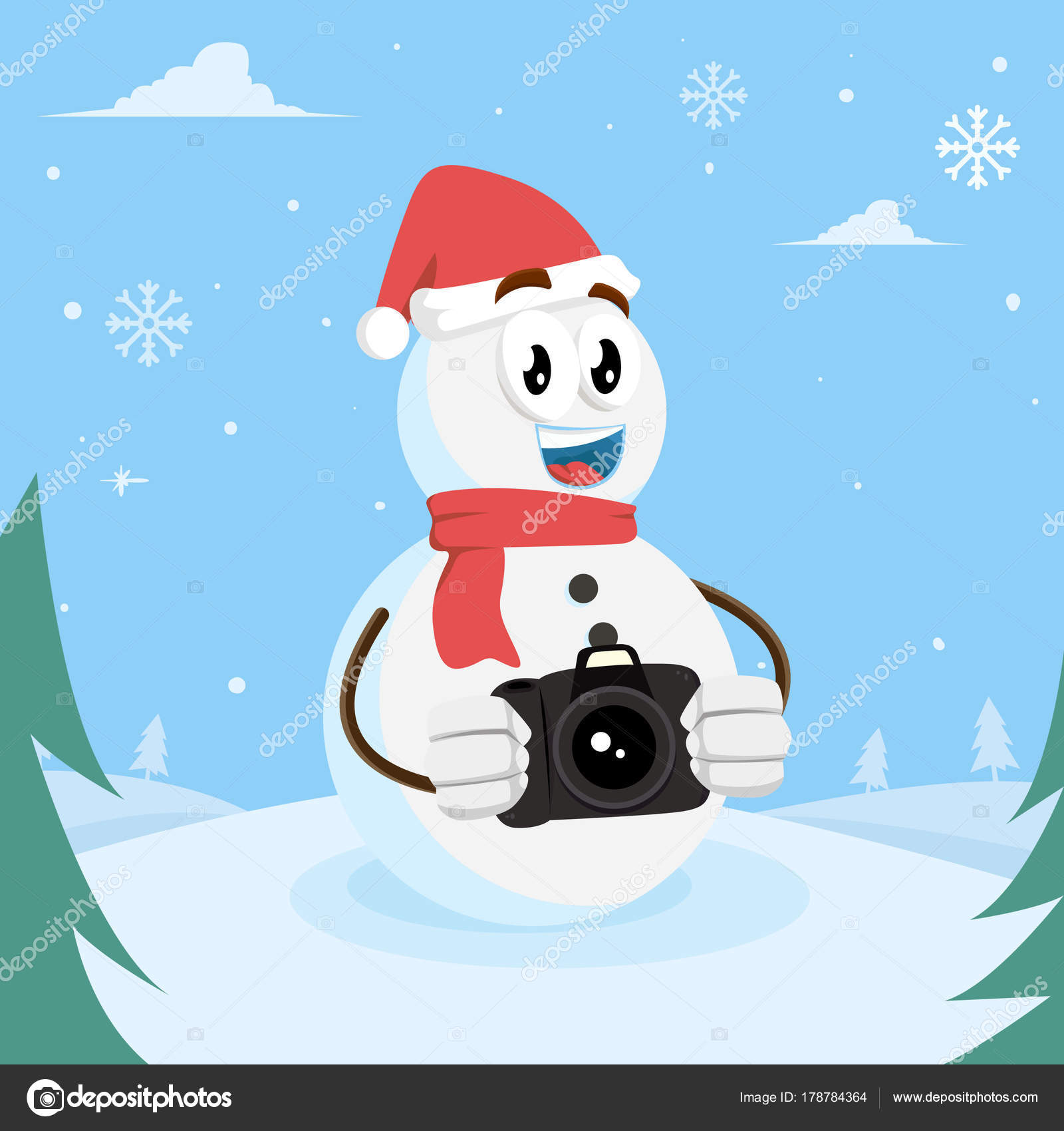 Snowman Logo Mascot Background Camera Pose Flat Design Style Your ...