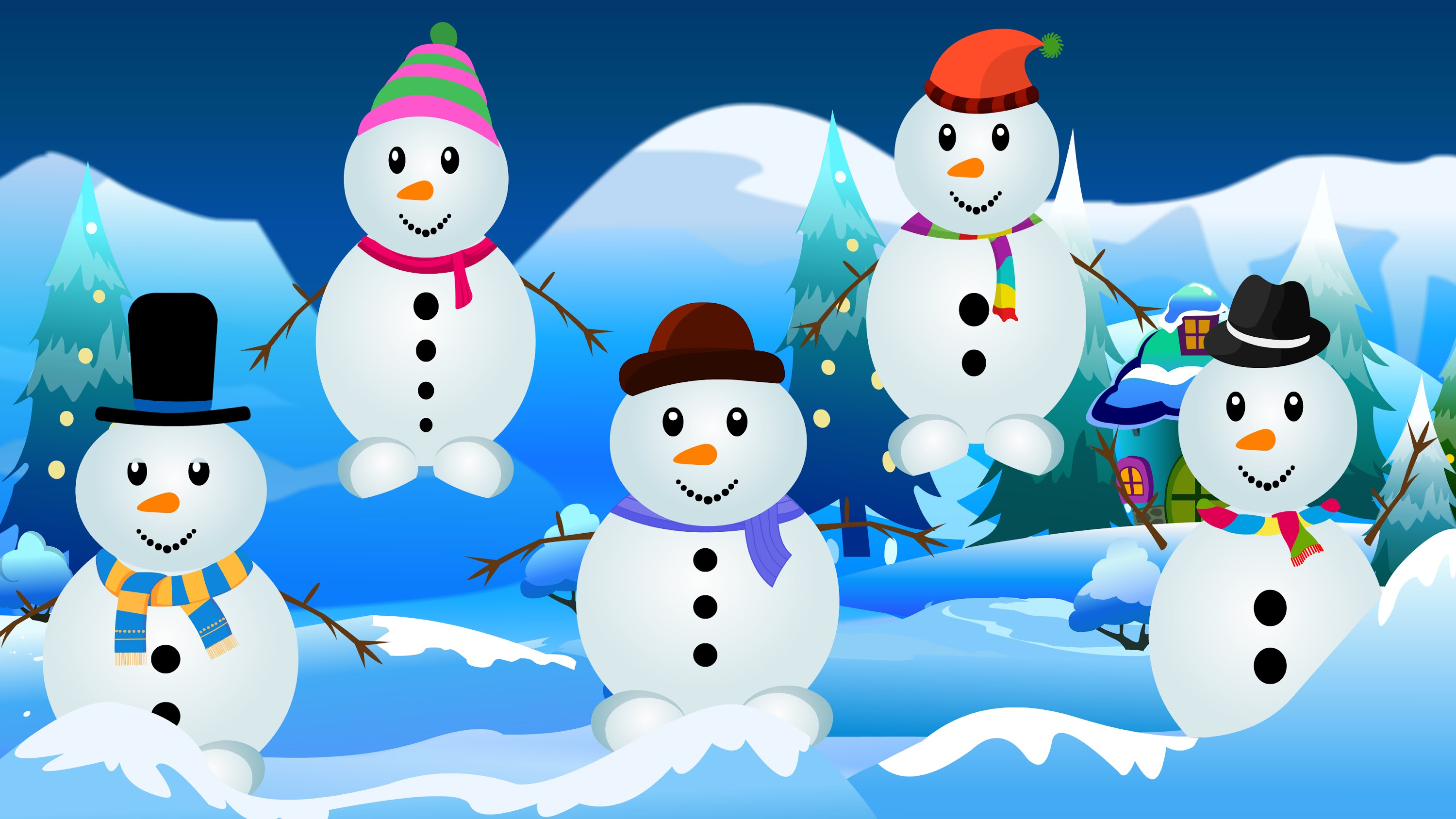 Five little Snowmen | Snowman Cartoon Videos For Babies | Kids Tv ...