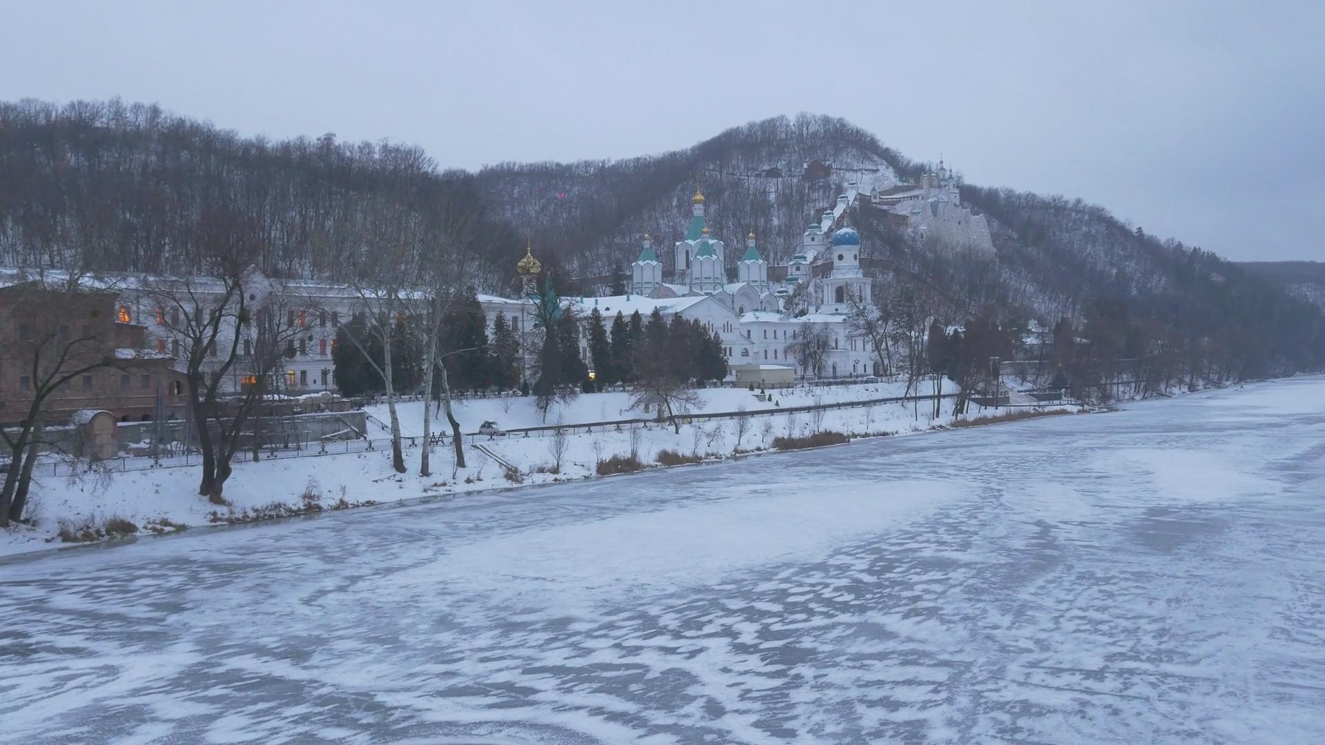Beautiful Winter View of Sviatohirsk Lavra Frozen River Snowy Hills ...