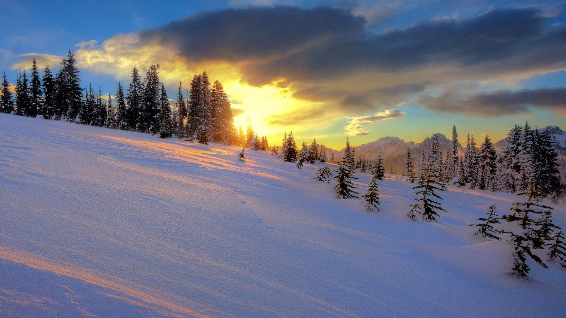 Snowy Hills In The Sunset - WallDevil