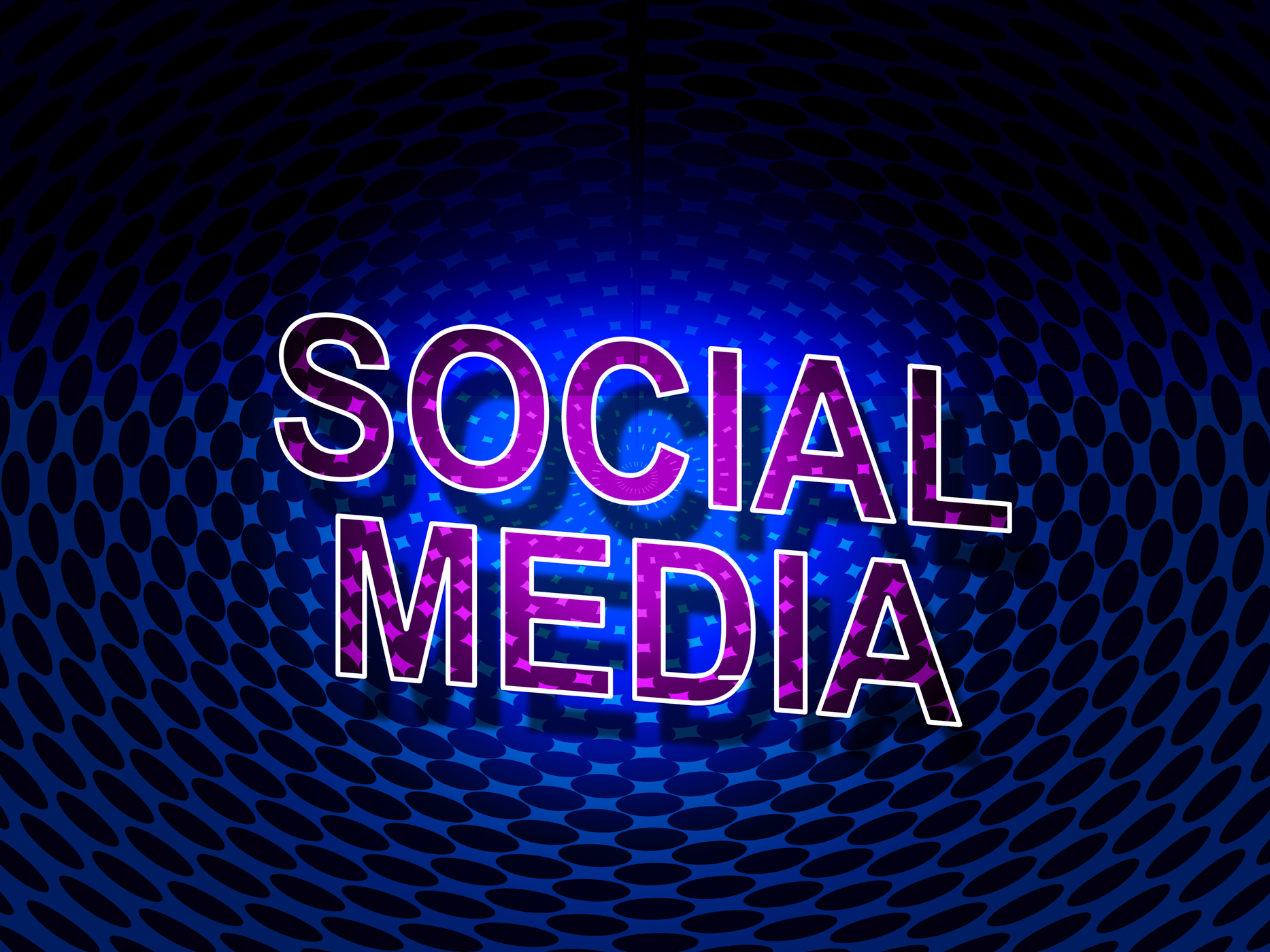 Social media sign shows network people and communication photo