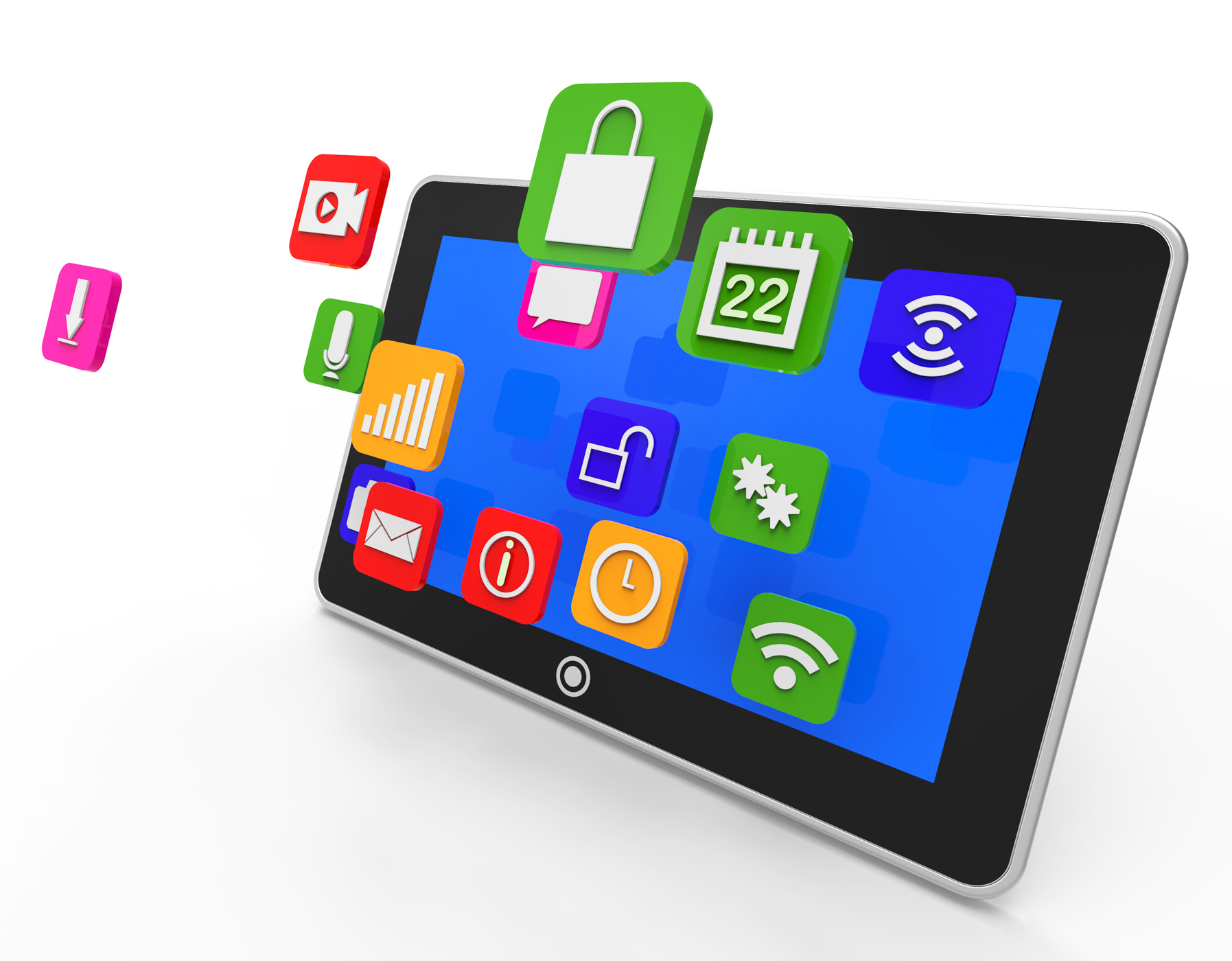 Social media tablet shows computer apps and portable photo