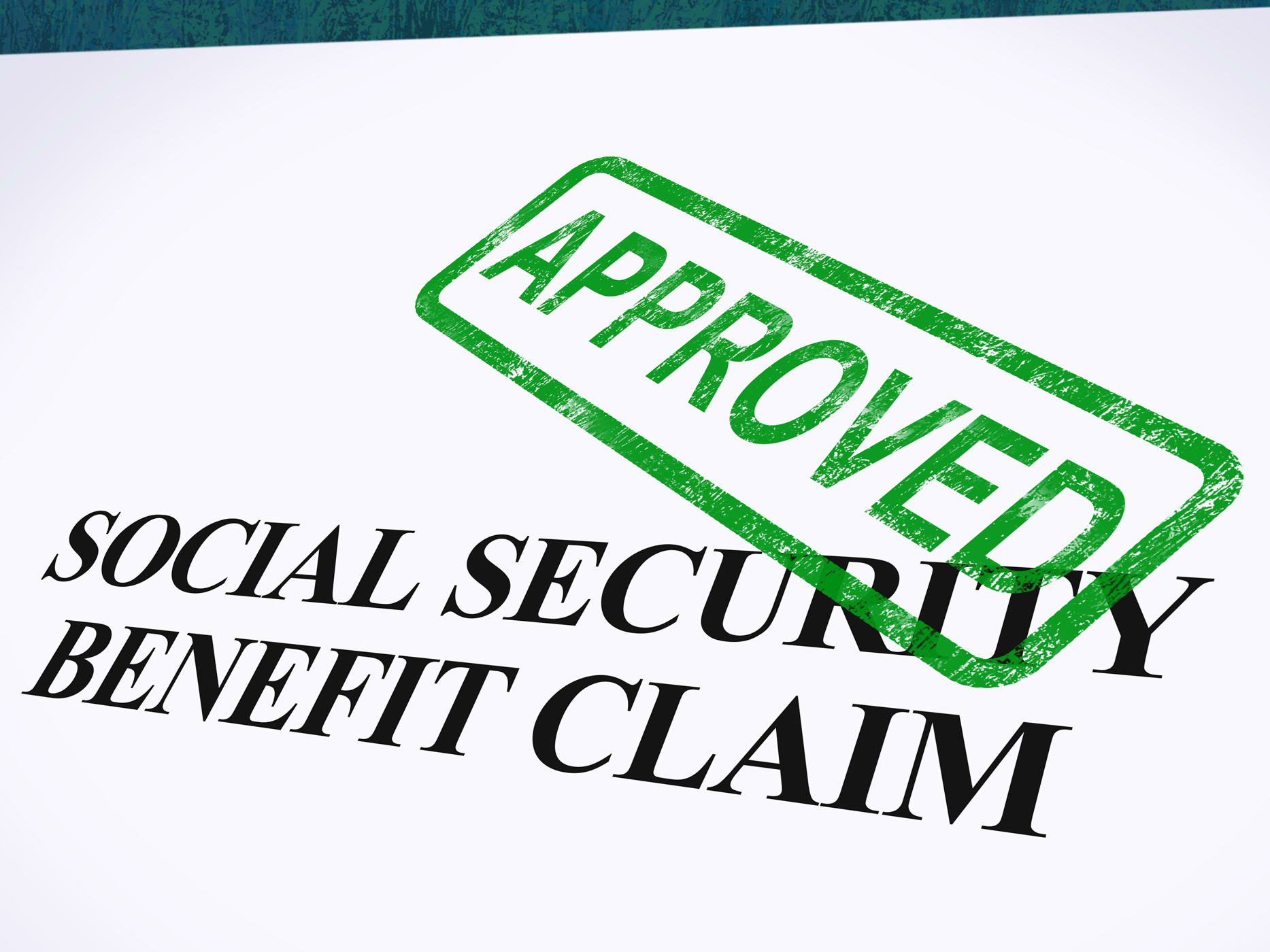 Social security claim approved stamp shows social unemployment benefit photo