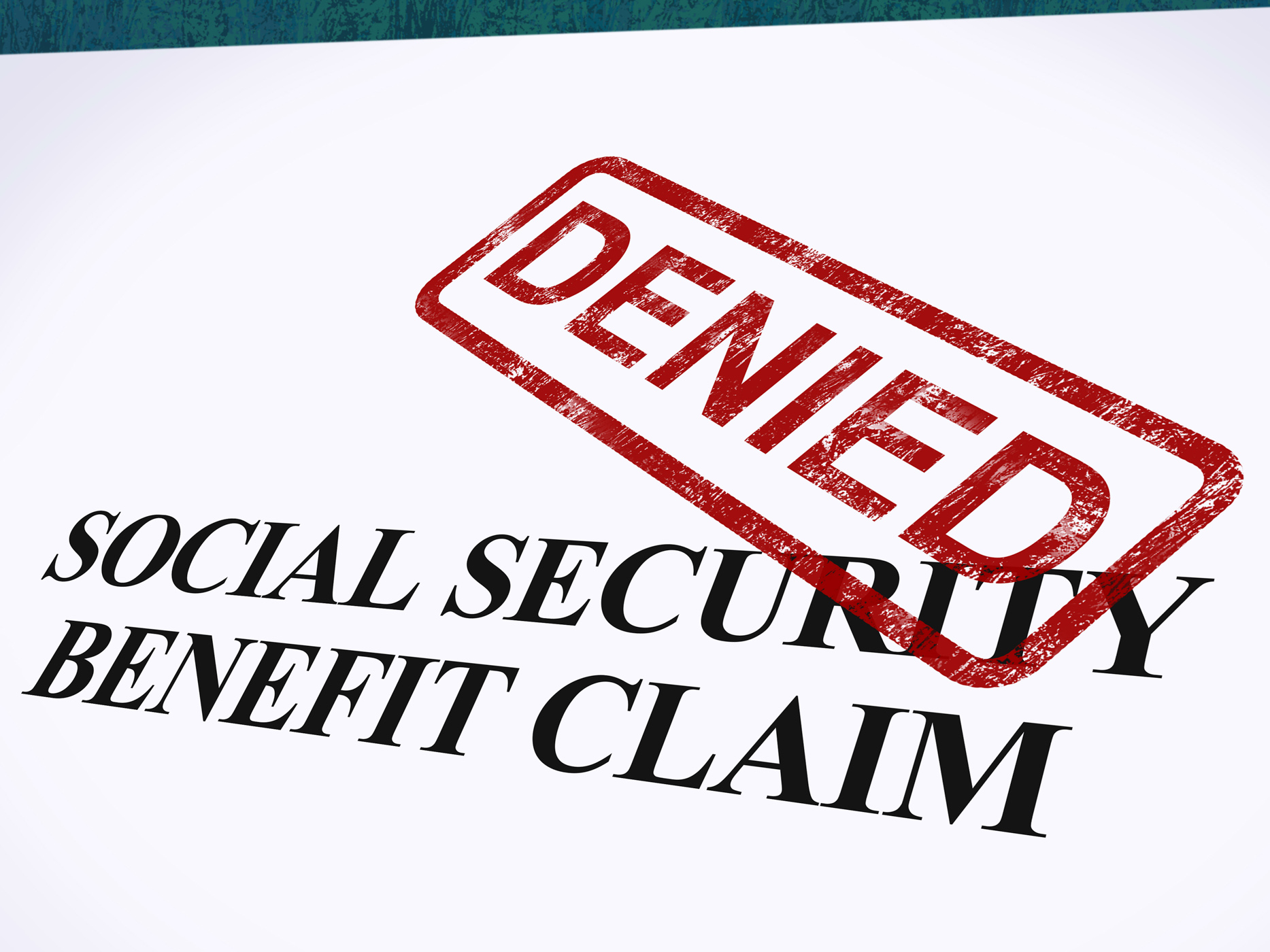 Social security claim denied stamp shows social unemployment benefit r photo