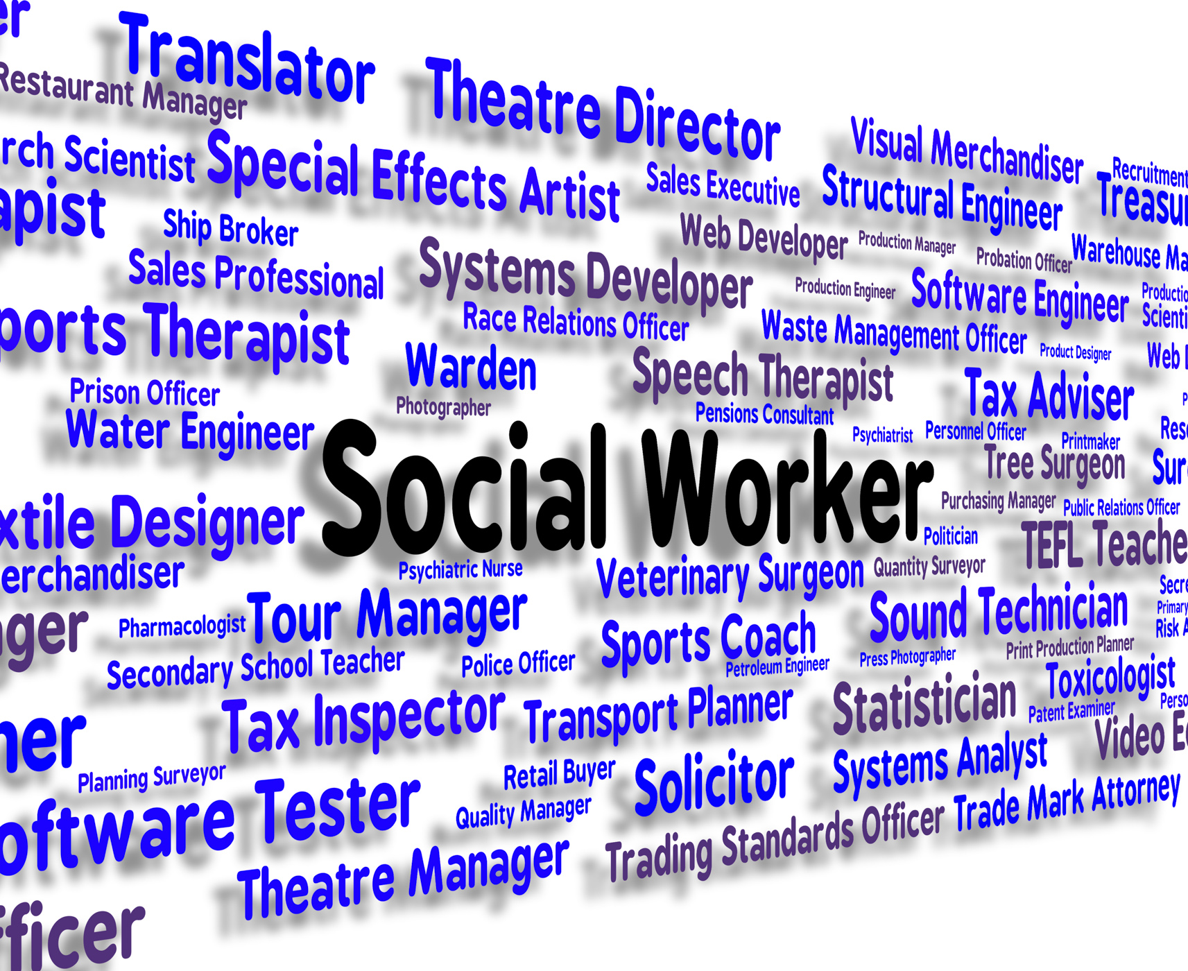 Social worker represents words jobs and word photo