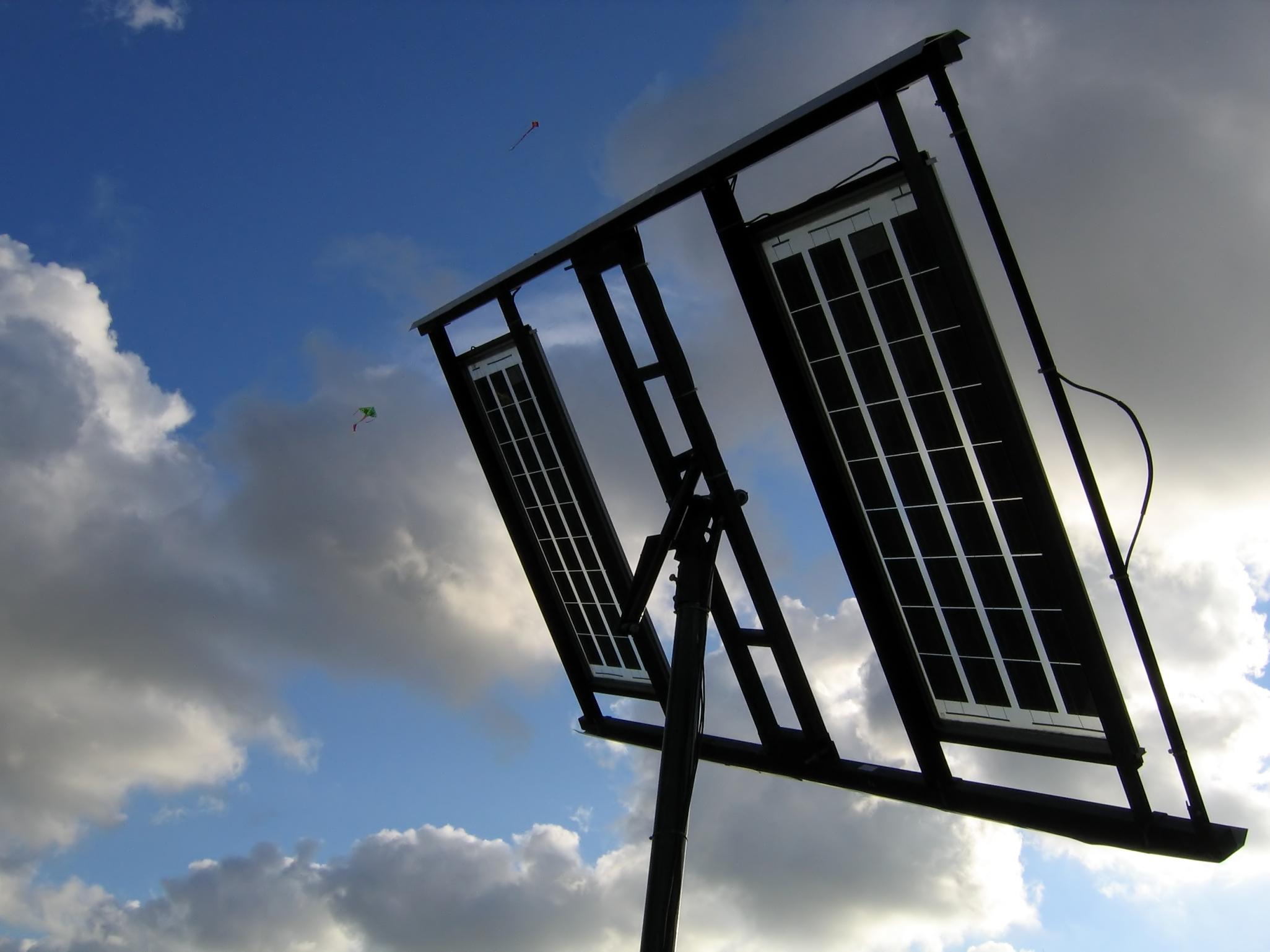 Solar Panels, Azure, Pole, Weather, Stratus, HQ Photo