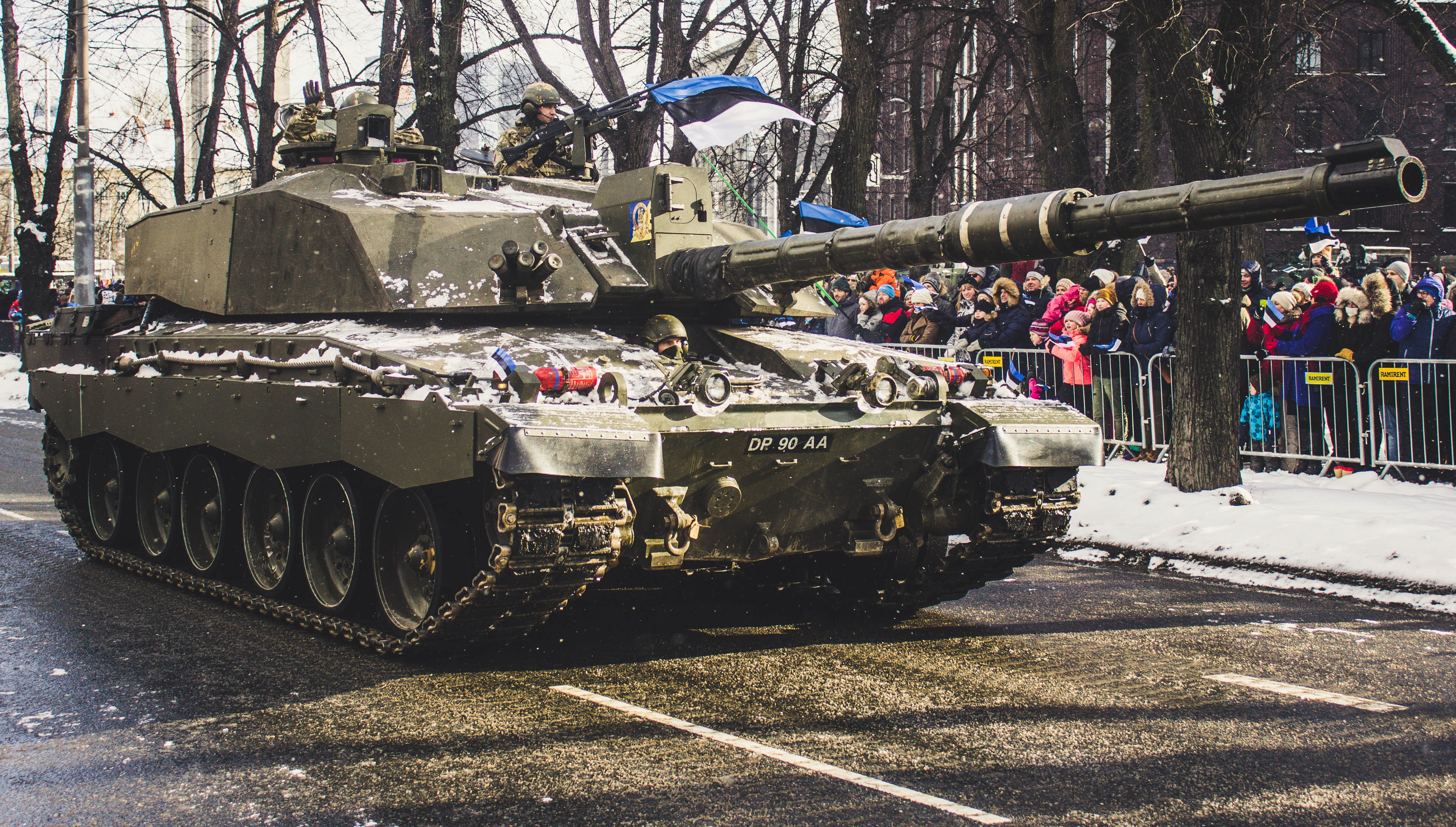 Soldier tank on road photo