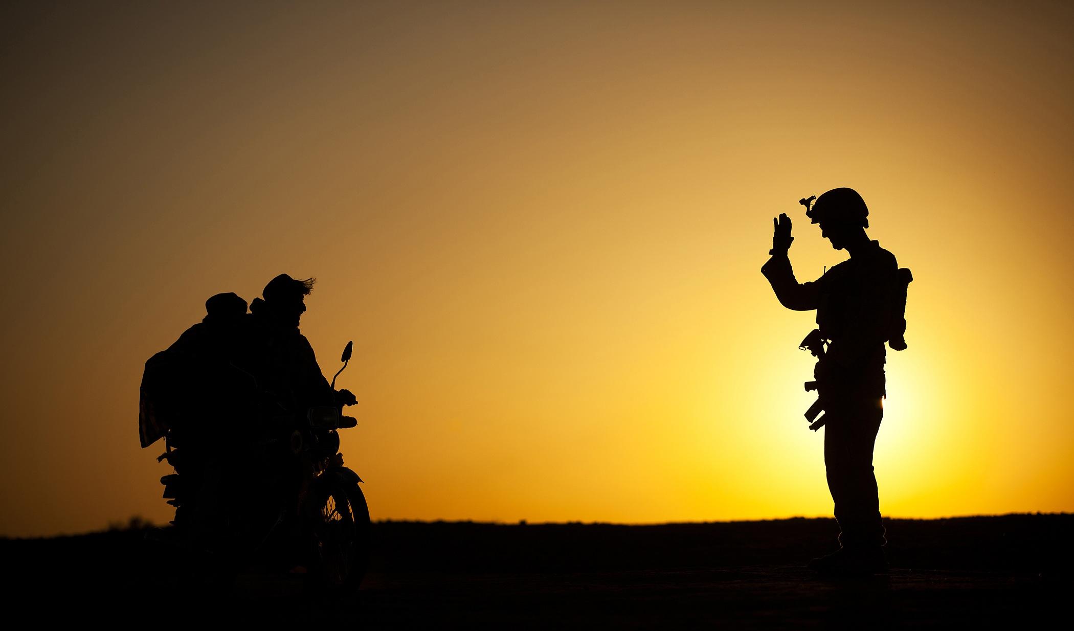 Soldier Waving to Civilians, Activity, Dark, Duty, People, HQ Photo