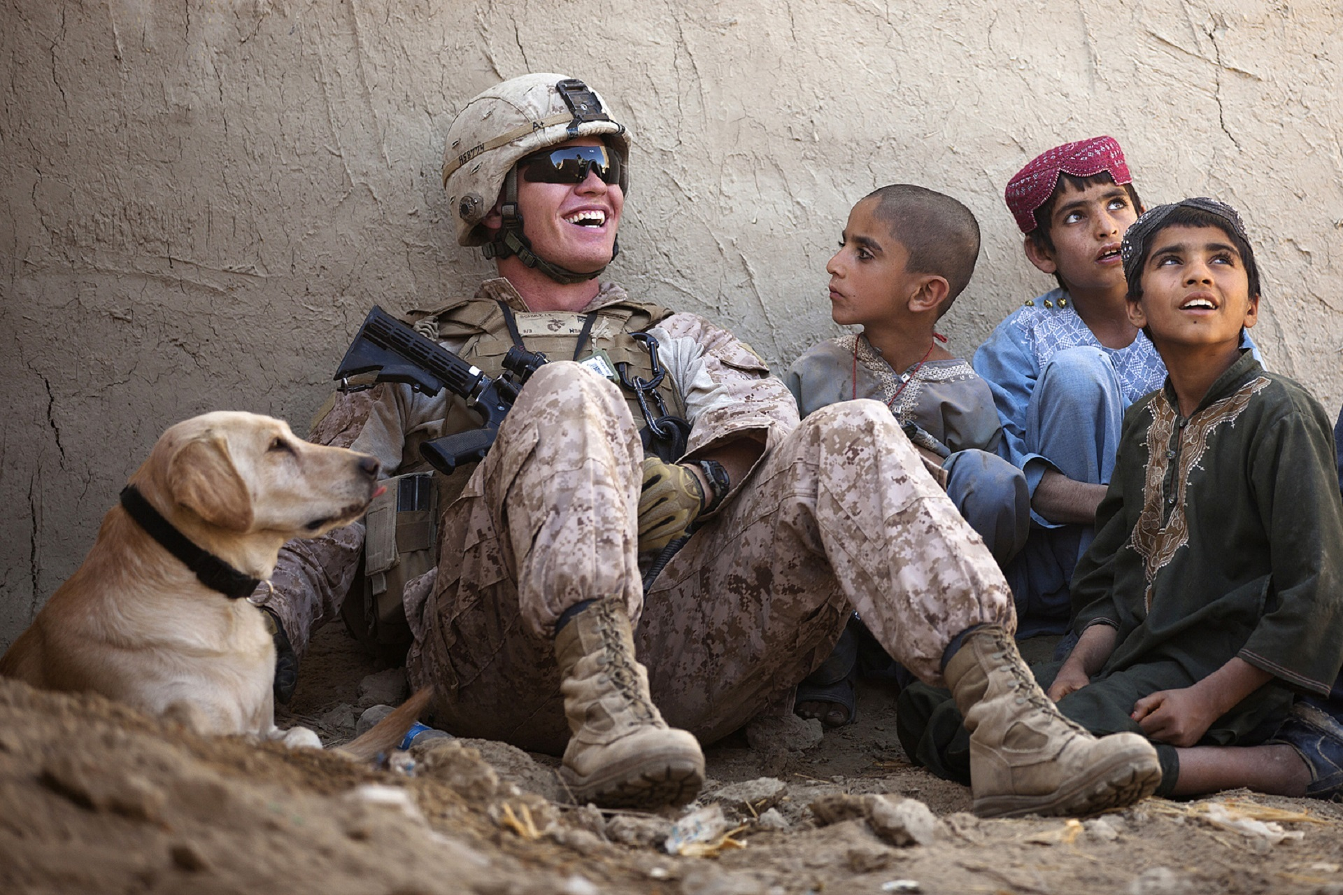 Soldier with kids photo