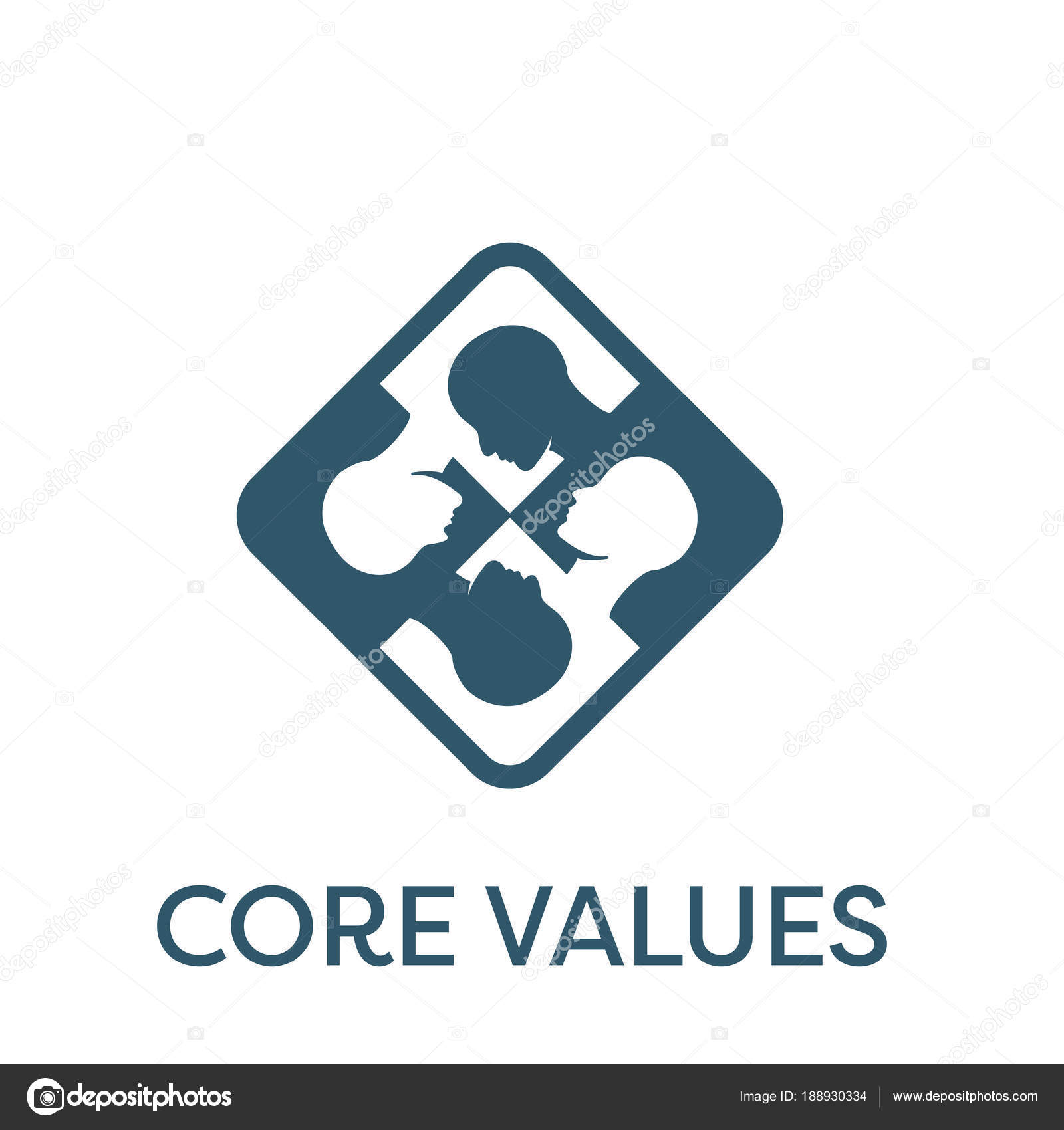 Core Values Solid Icon w person & collaborating / thinking ideas ...