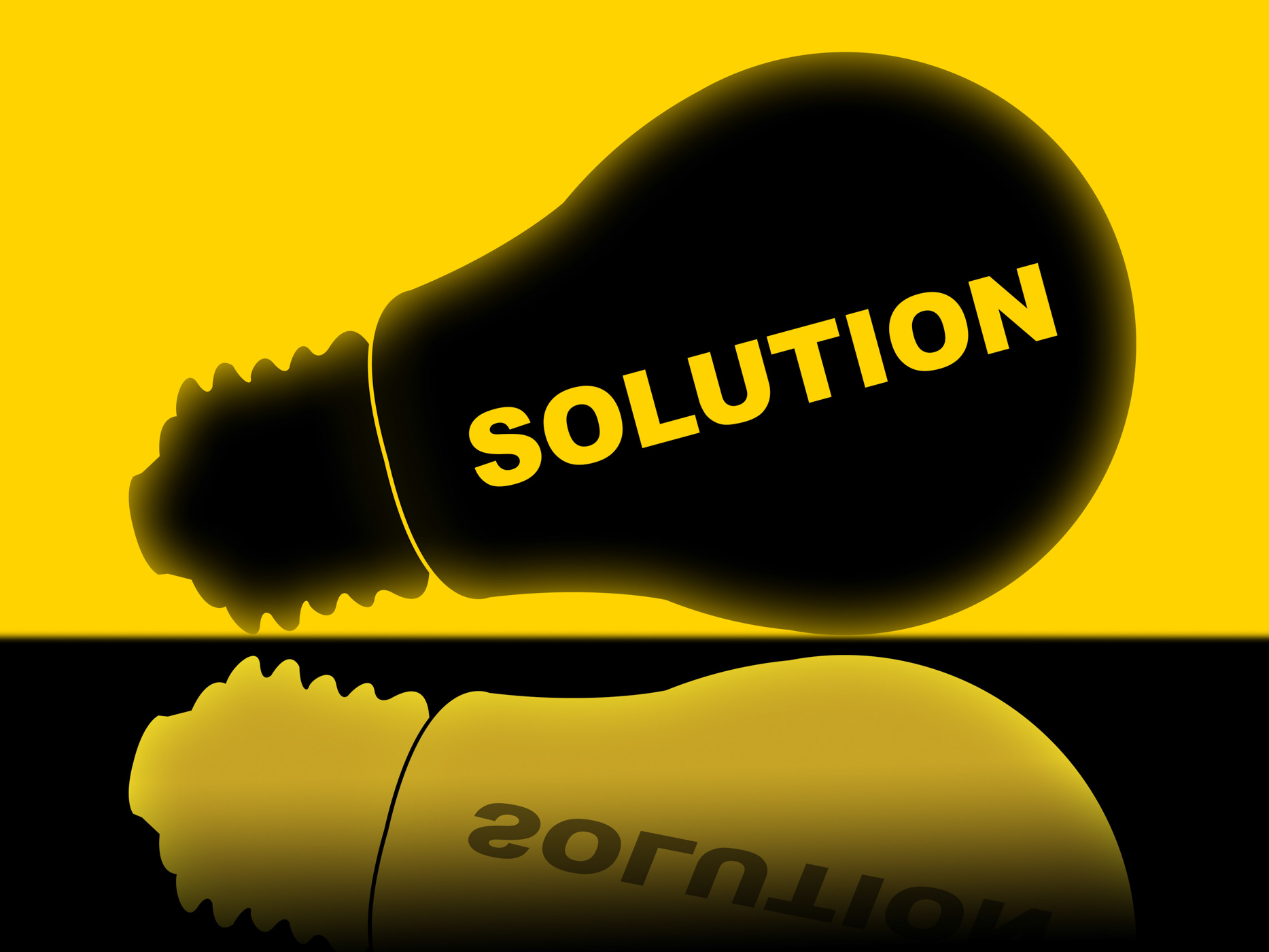 Solution lightbulb represents solutions success and solved photo