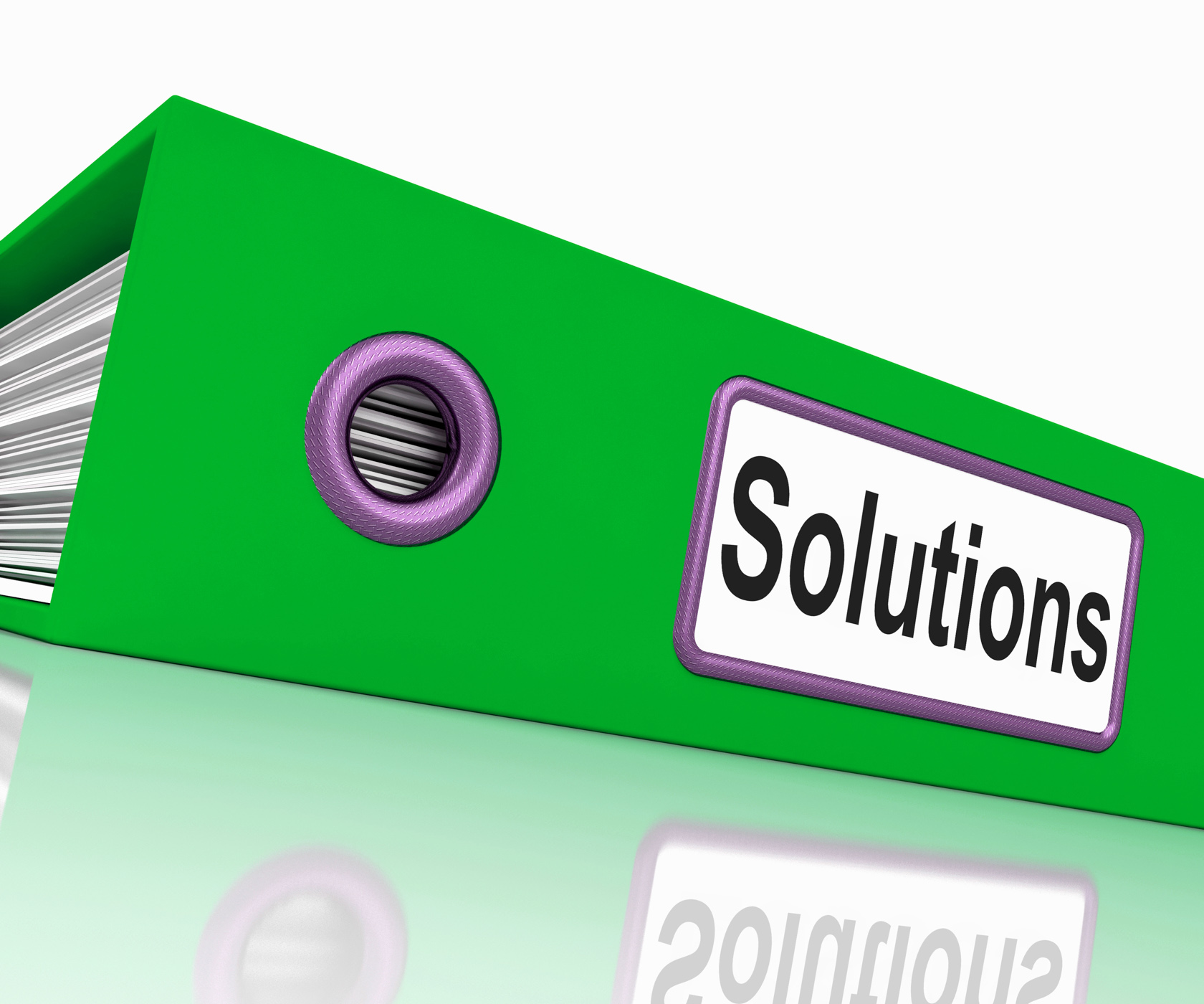 Solutions file indicates business administration and paperwork photo