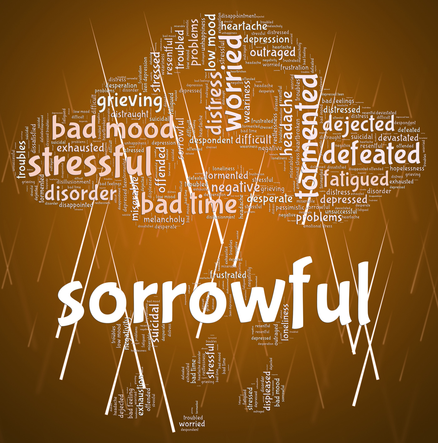 Sorrowful word represents grief stricken and dejected photo