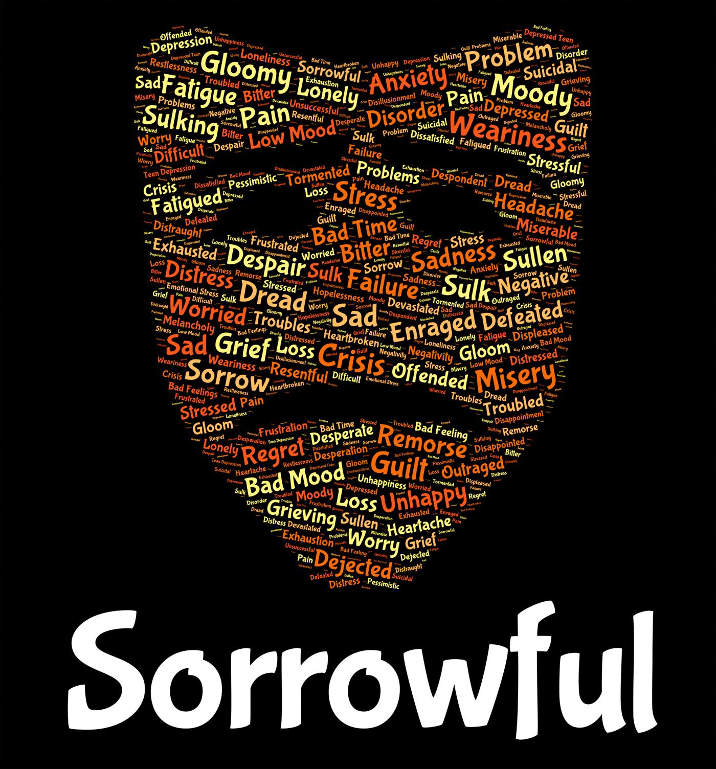 Sorrowful word represents grief stricken and despairing photo