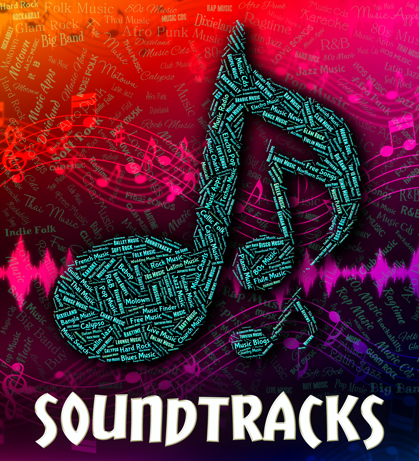 Soundtracks music indicates motion picture and accompanying photo
